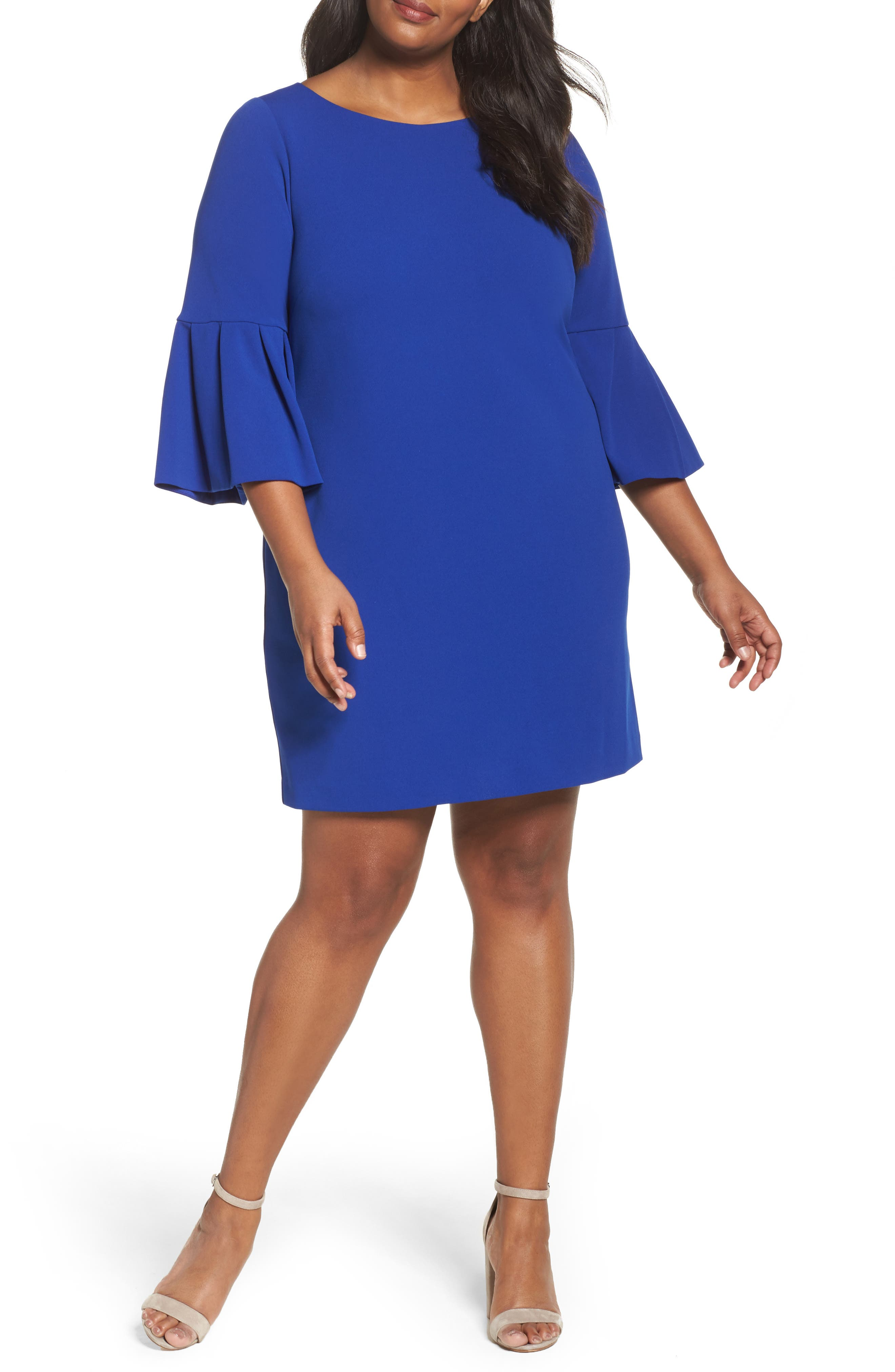 Bell Sleeve Shift Dress,                         Main,                         color, Royal