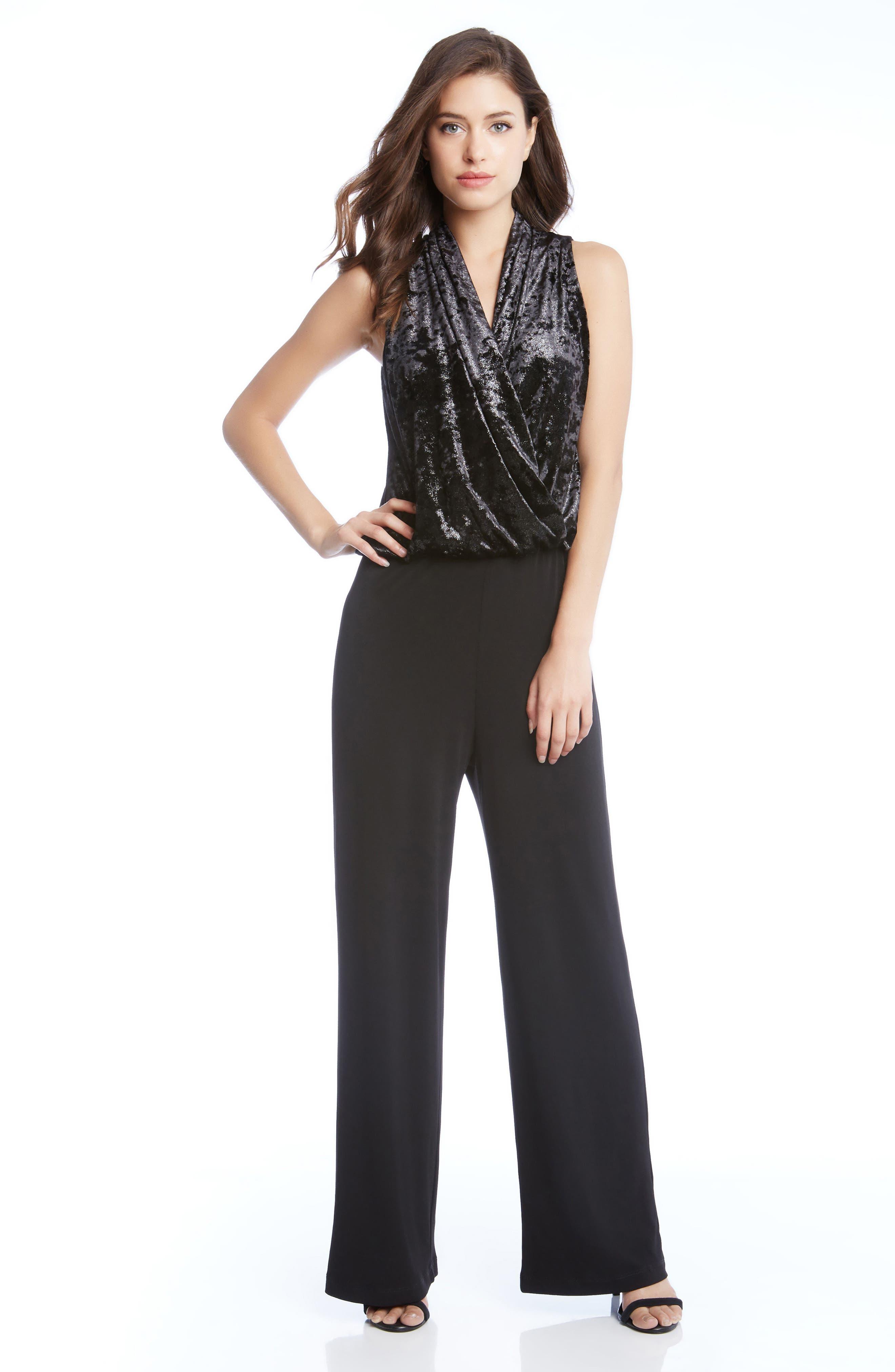 Palazzo Velvet & Crepe Jumpsuit,                             Alternate thumbnail 2, color,                             Black