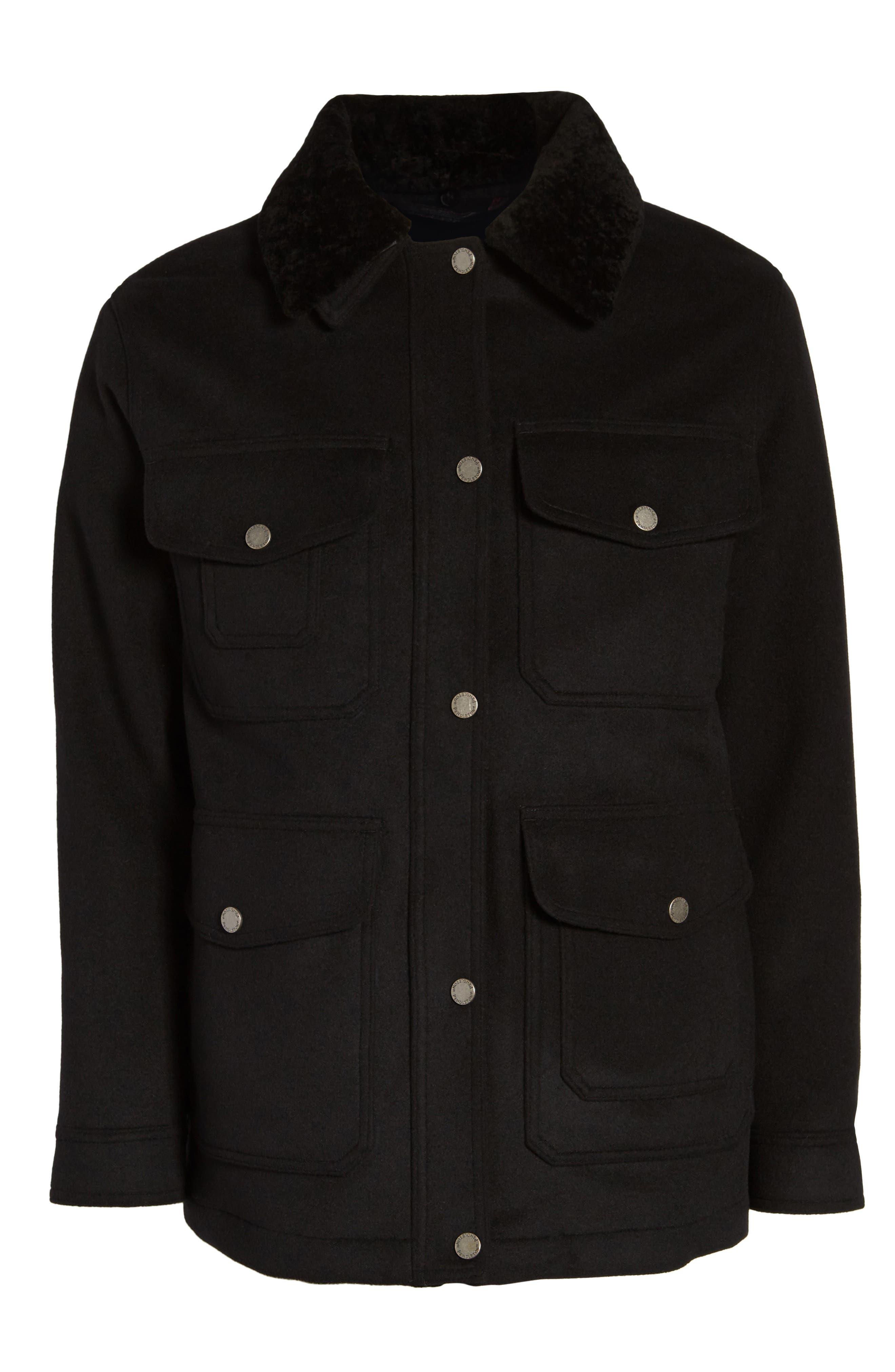 Manchester Waterproof Field Coat,                             Alternate thumbnail 6, color,                             Black