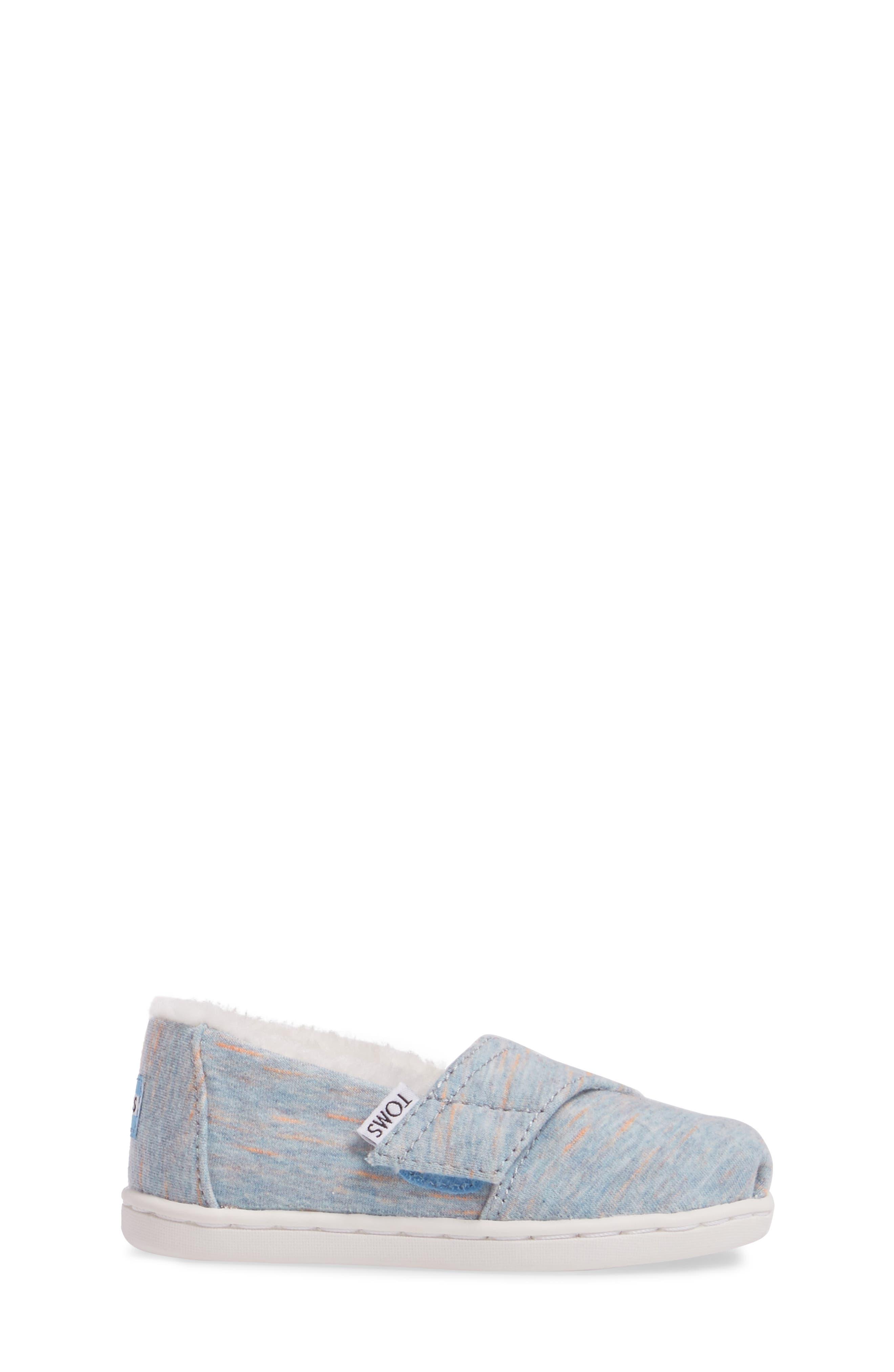 Classic - Tiny Herringbone Faux Shearling Lined Slip-On,                             Alternate thumbnail 3, color,                             Alaskan Blue Heather Jersey