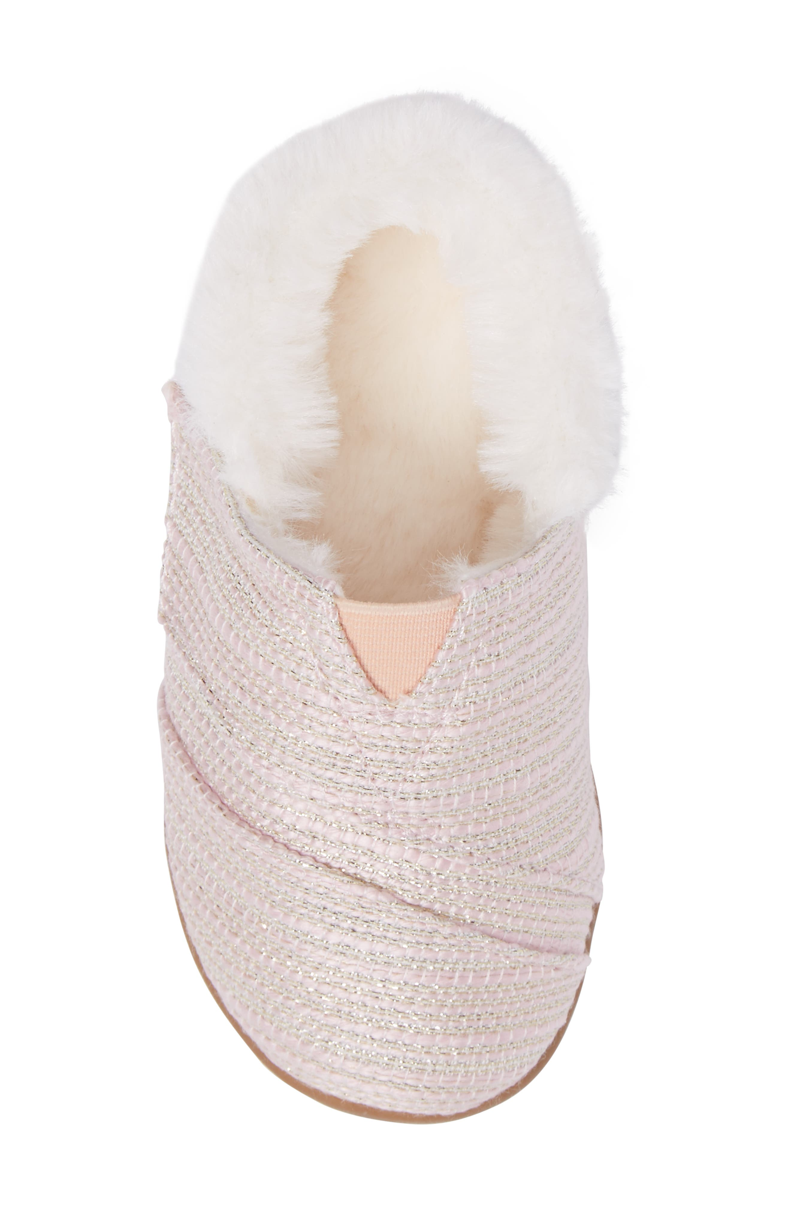 Alternate Image 5  - TOMS Tiny Faux Fur Metallic Slipper (Baby, Walker & Toddler)