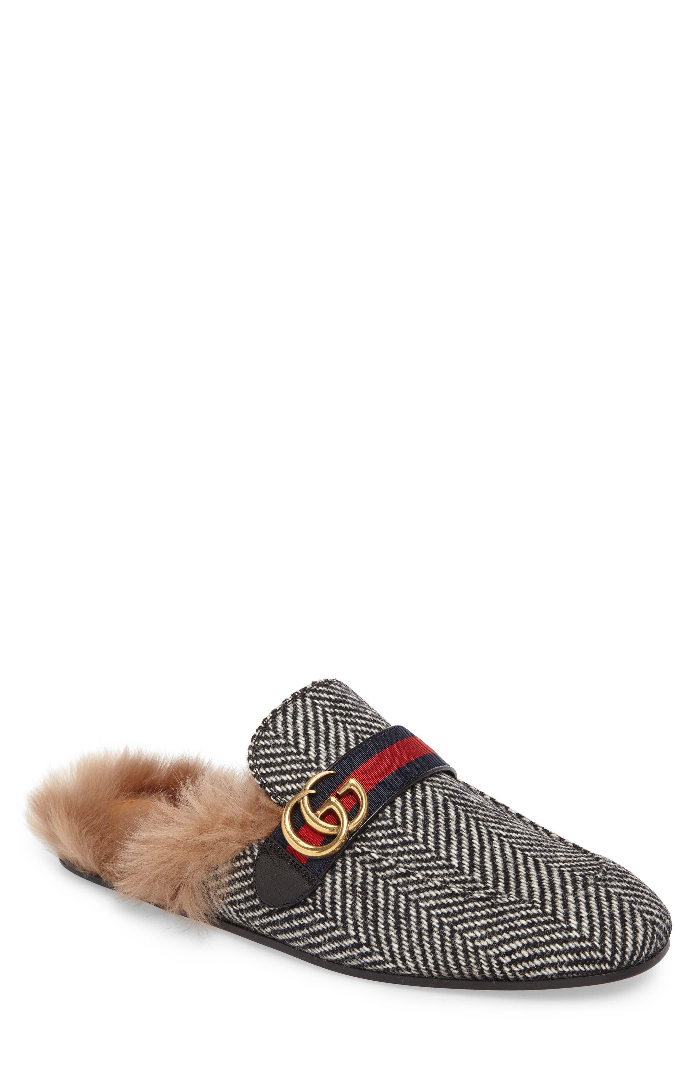 Alternate Image 1 Selected - Gucci New Princetown Genuine Shearling Herringbone Loafer Mule (Men)