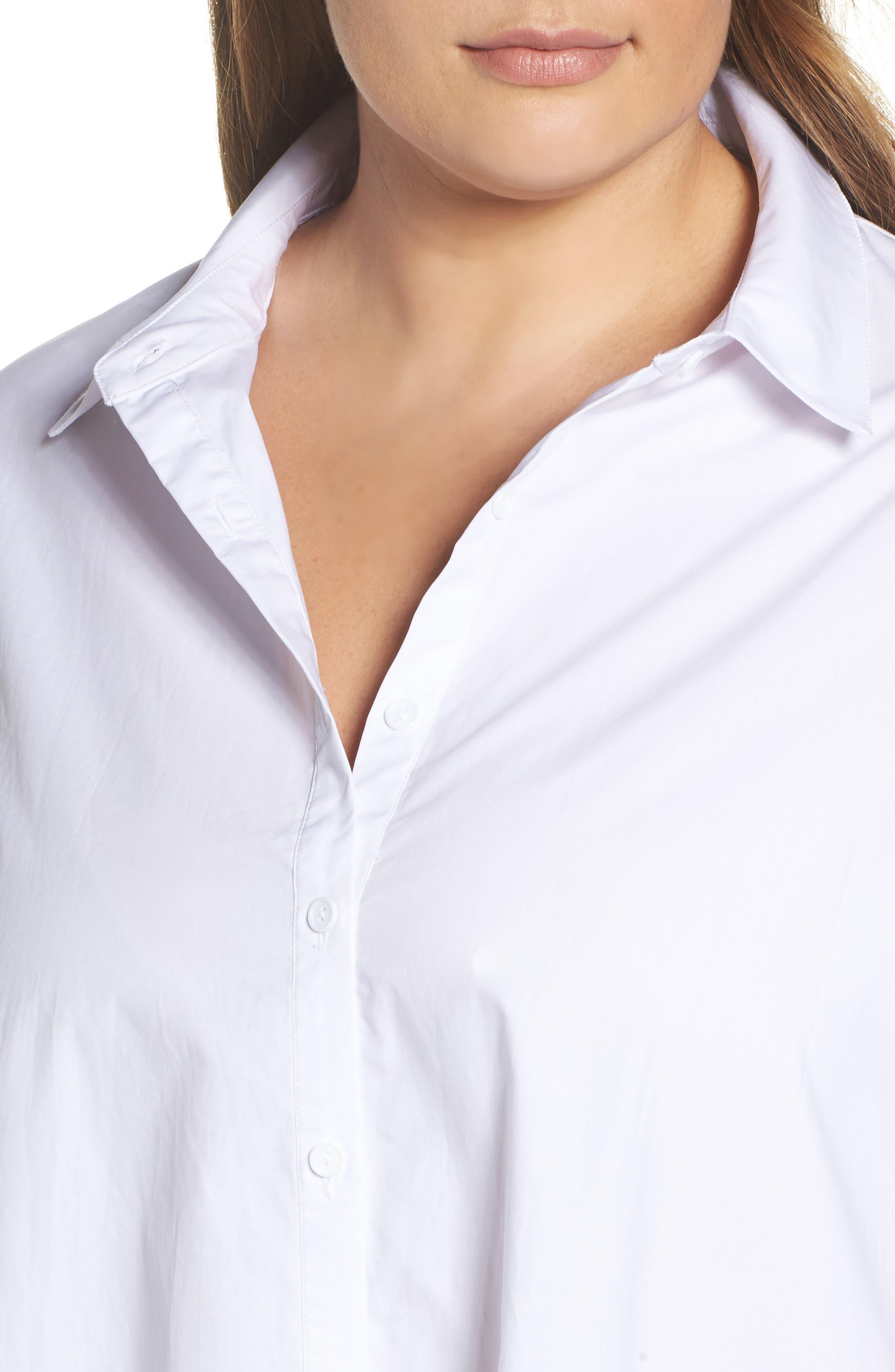 Cotton Shirtdress,                             Alternate thumbnail 4, color,                             White
