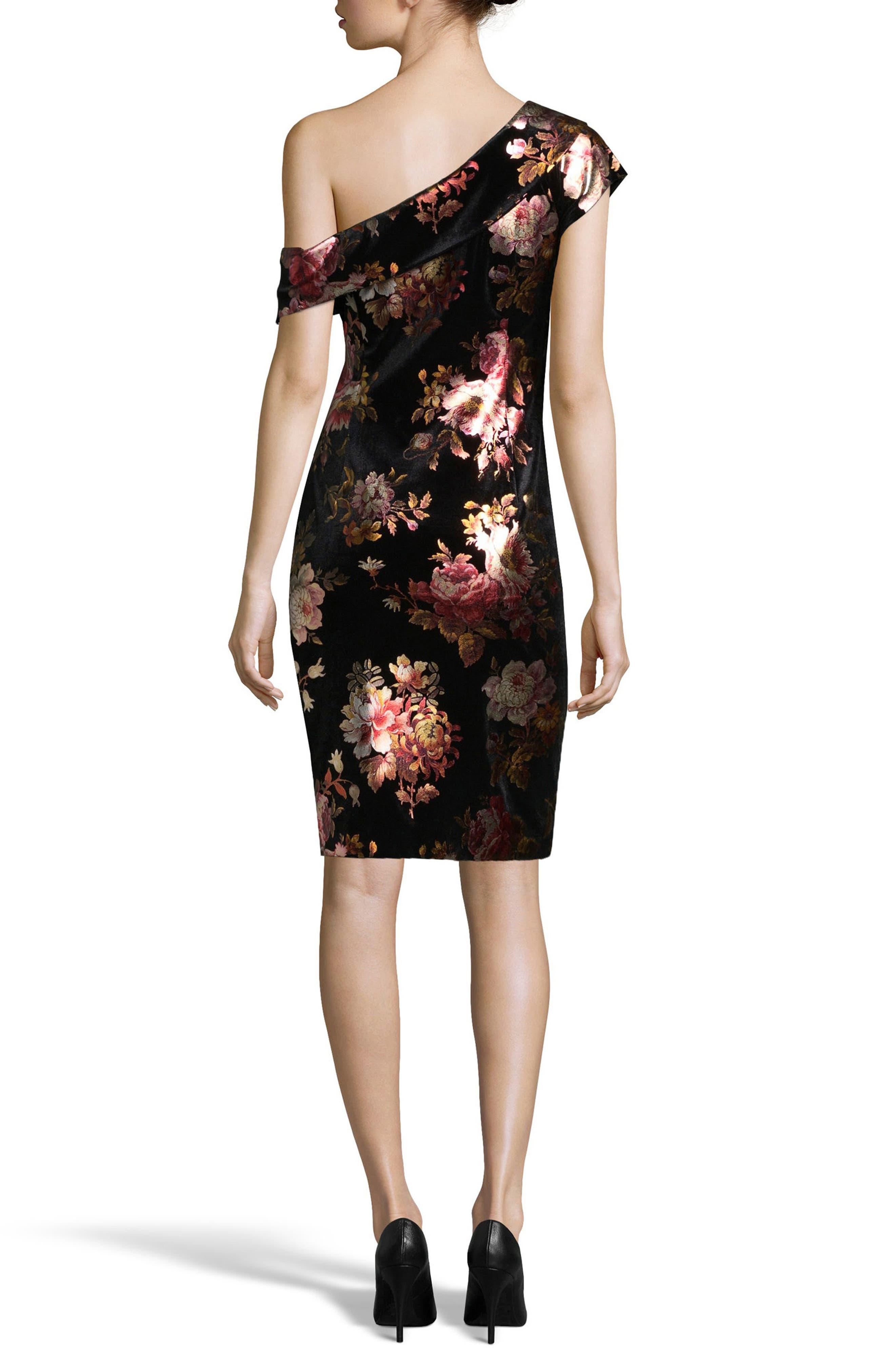One-Shoulder Foil Sheath Dress,                             Alternate thumbnail 2, color,                             Black/ Pink