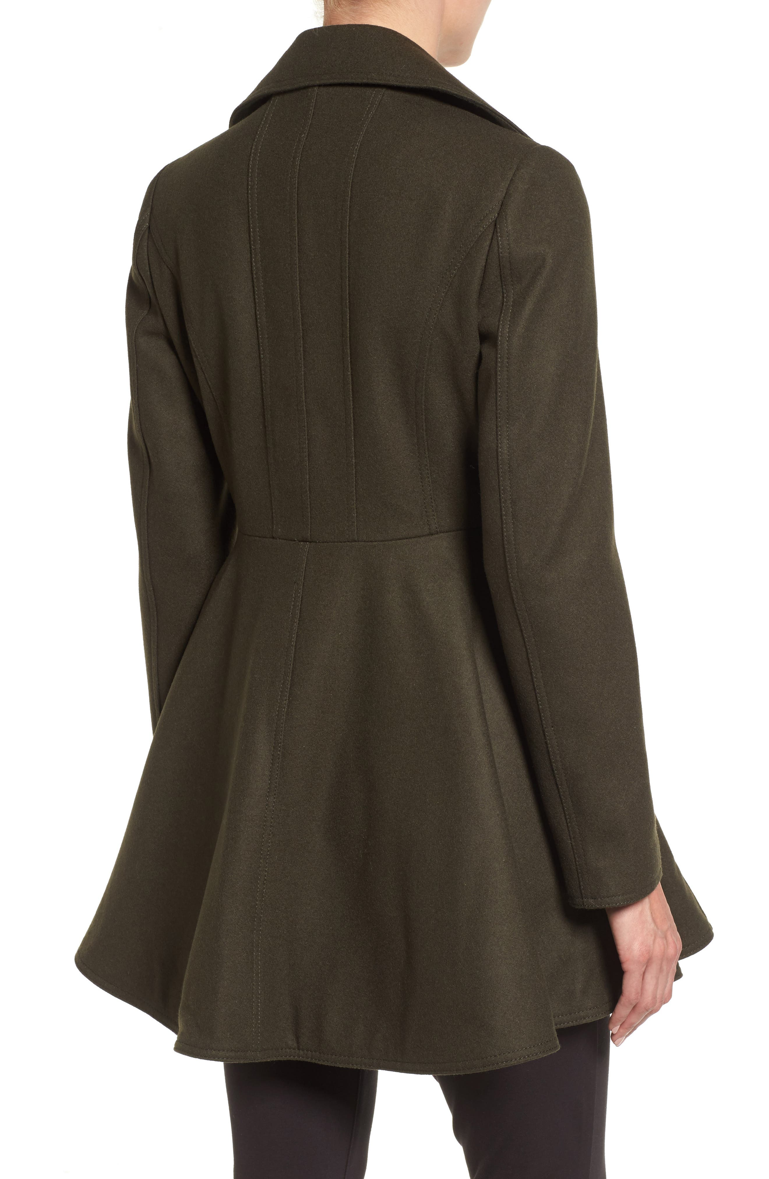 Alternate Image 2  - Laundry by Shelli Segal Double Breasted Fit & Flare Coat (Regular & Petite)