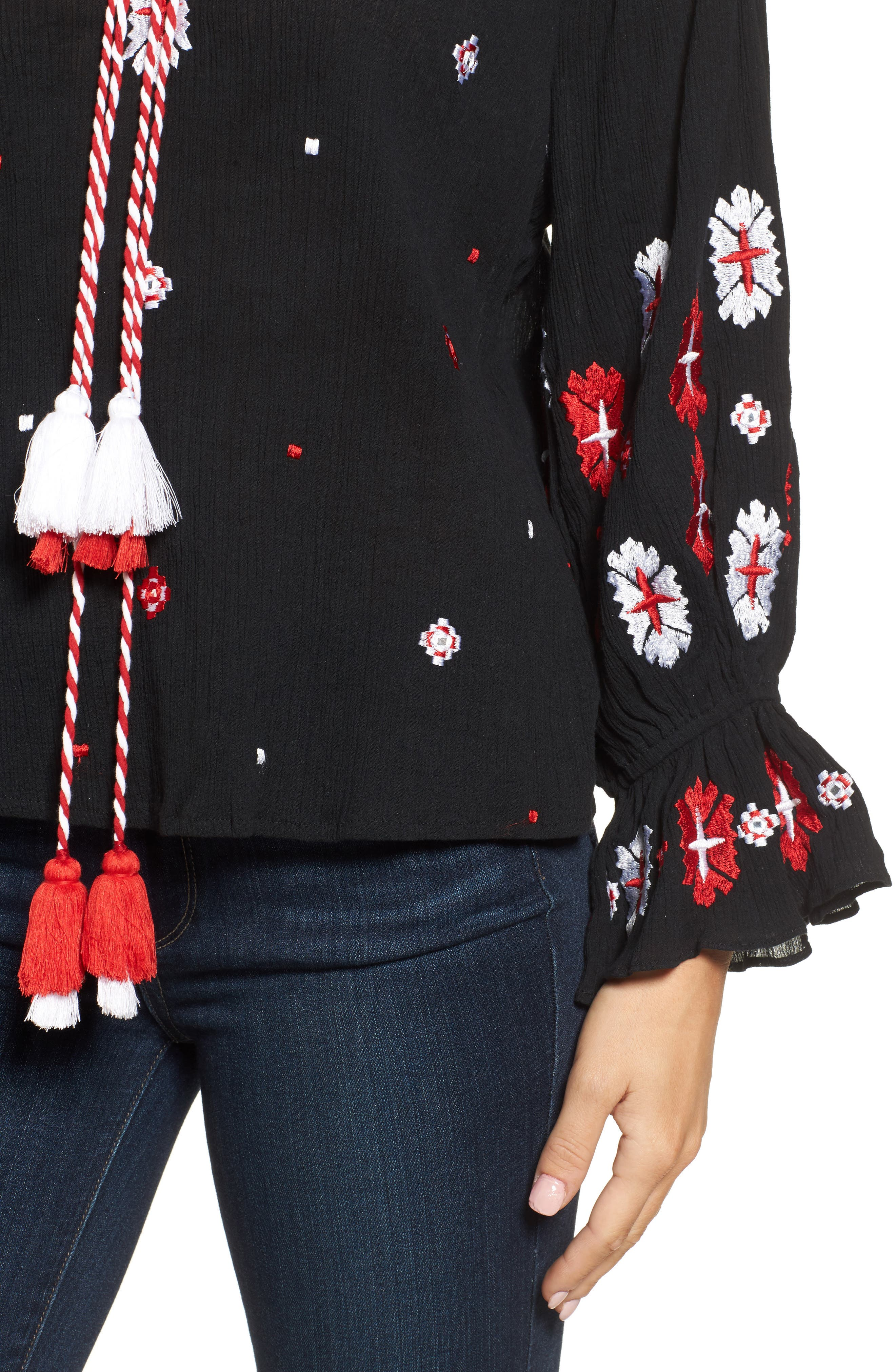Alternate Image 4  - KAS NEW YORK Myra Hand Embroidered Blouse