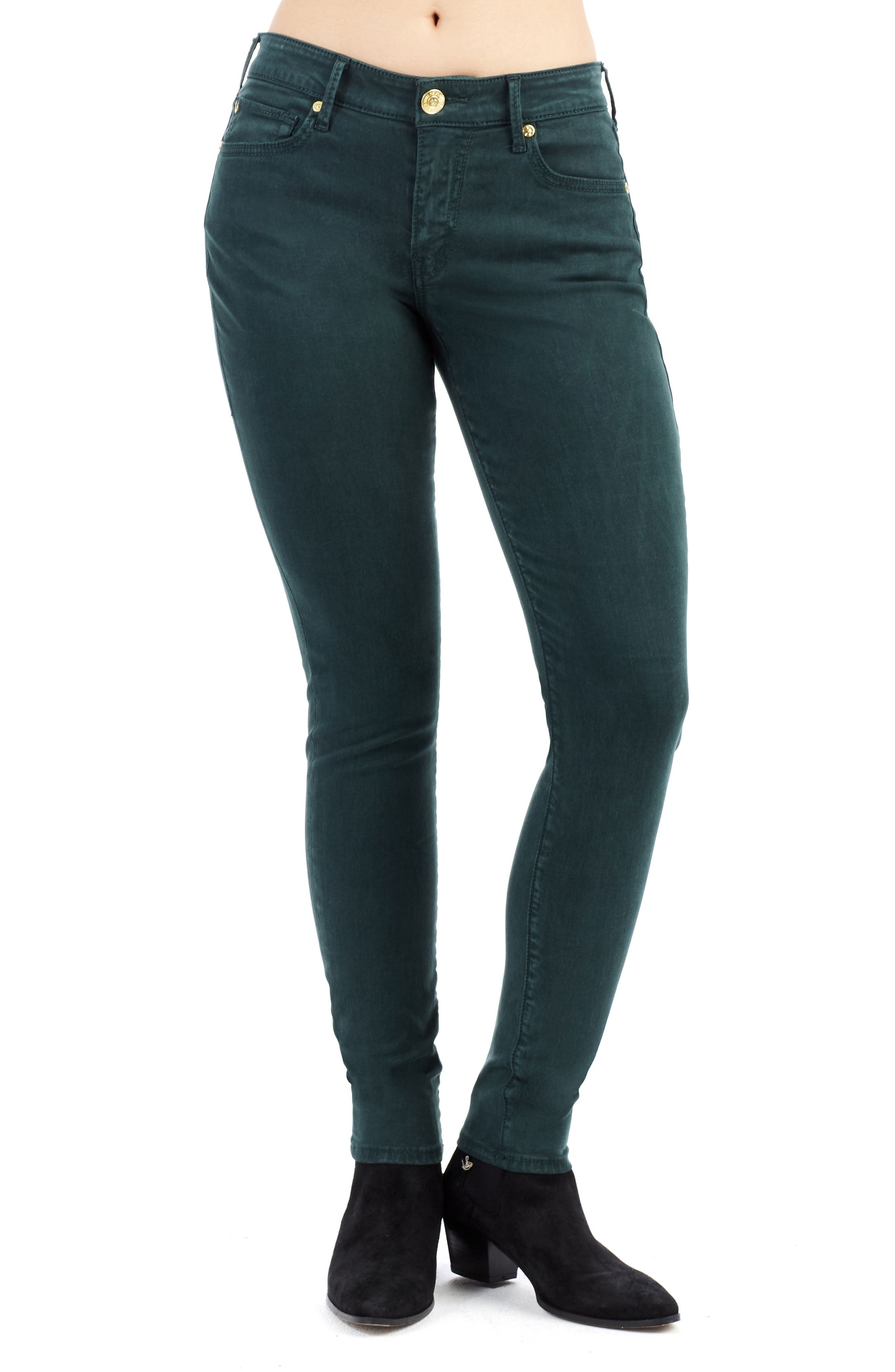 Jennie Curvy Skinny Jeans,                             Main thumbnail 1, color,                             Hunter Green