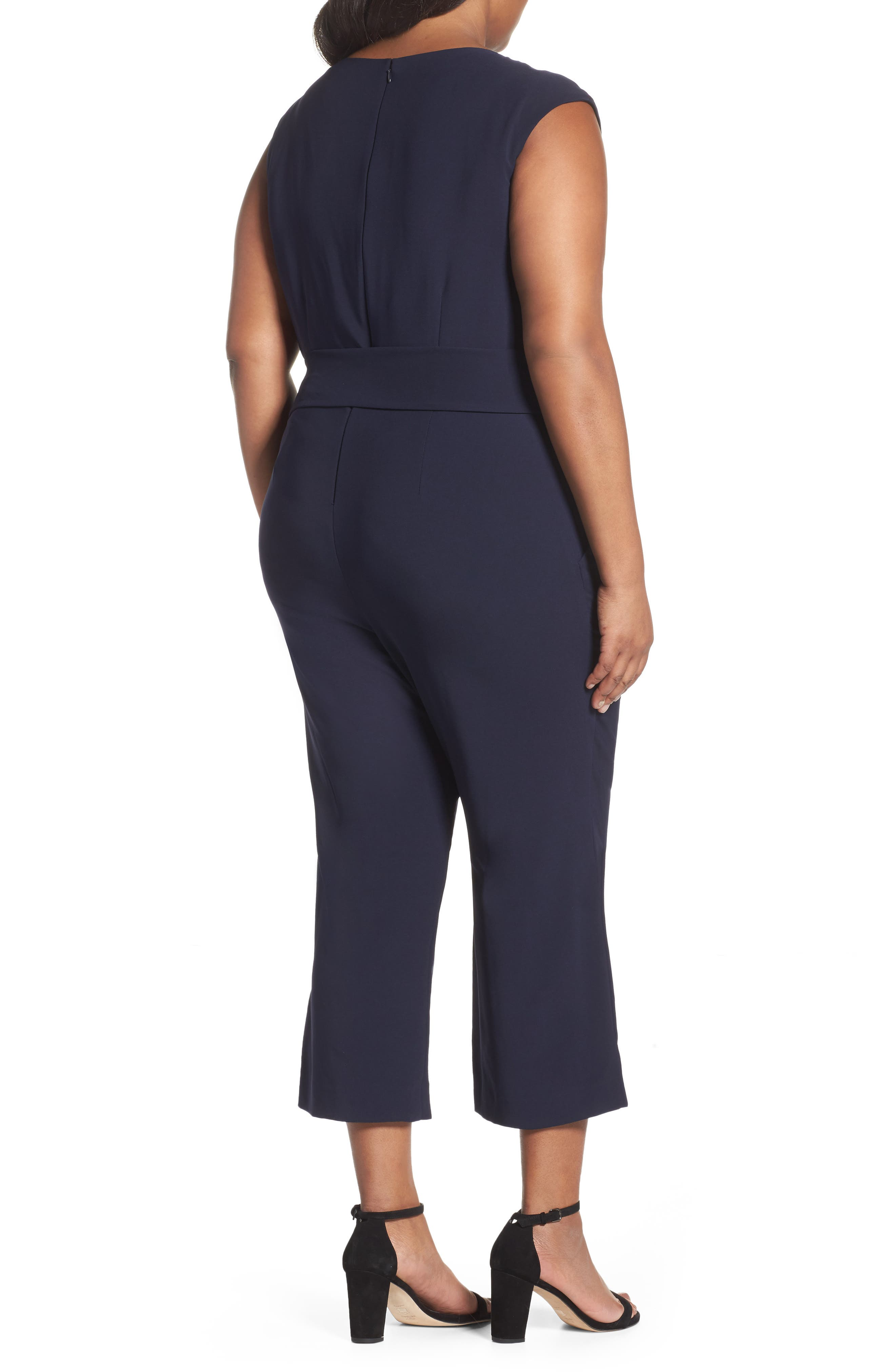 Alternate Image 2  - Tahari Wide Leg Crop Jumpsuit (Plus Size)