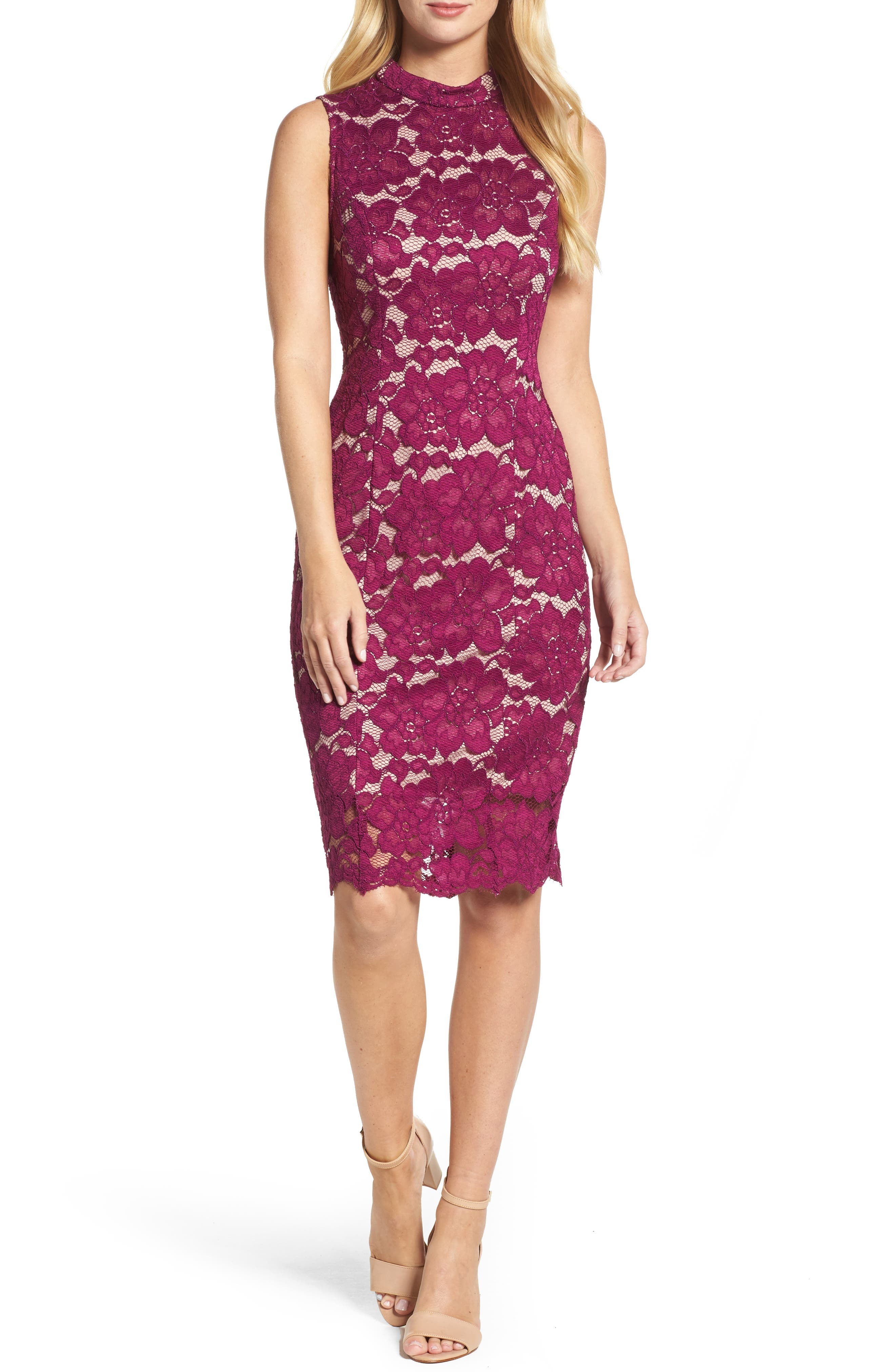 Twin Flower Lace Sheath Dress,                             Main thumbnail 1, color,                             Burgundy