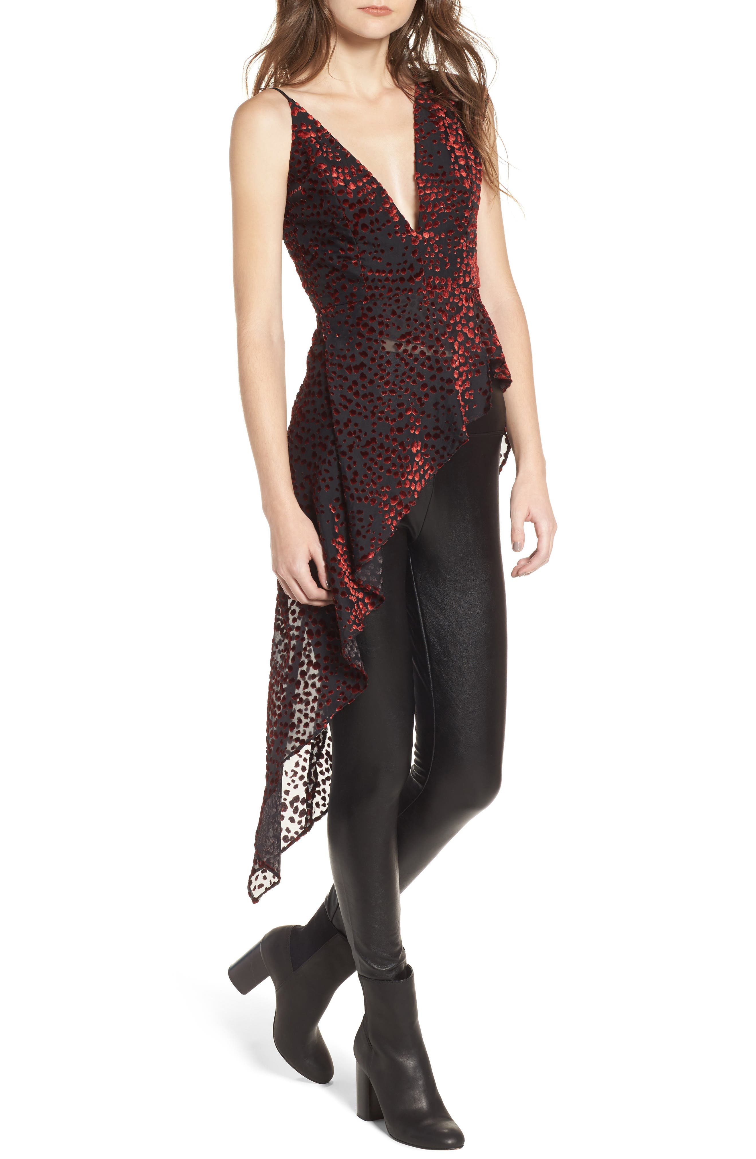 Maddox Asymmetrical Top,                         Main,                         color, Red Leopard