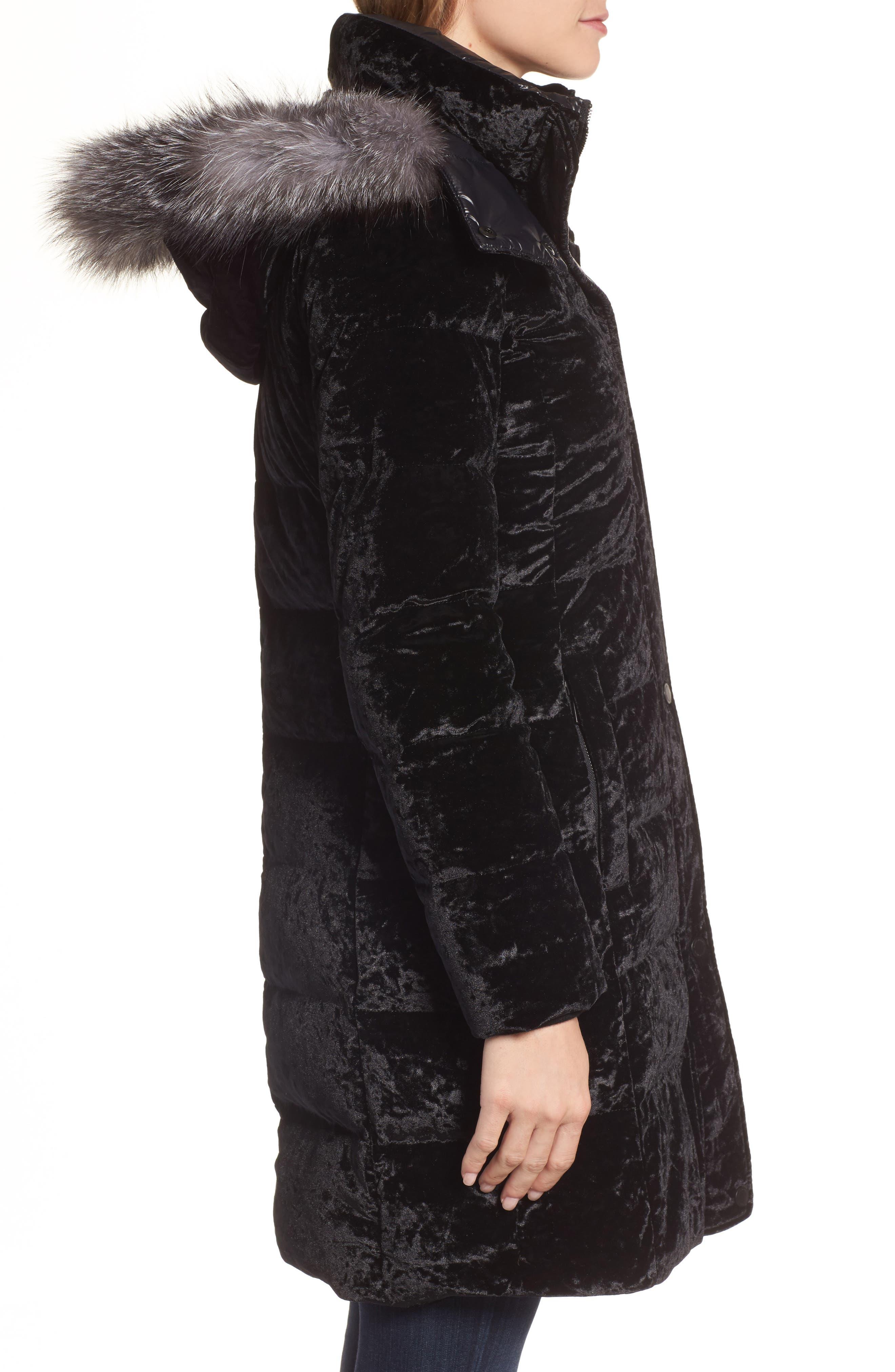 Velvet Down Jacket with Genuine Fox Fur,                             Alternate thumbnail 3, color,                             Black