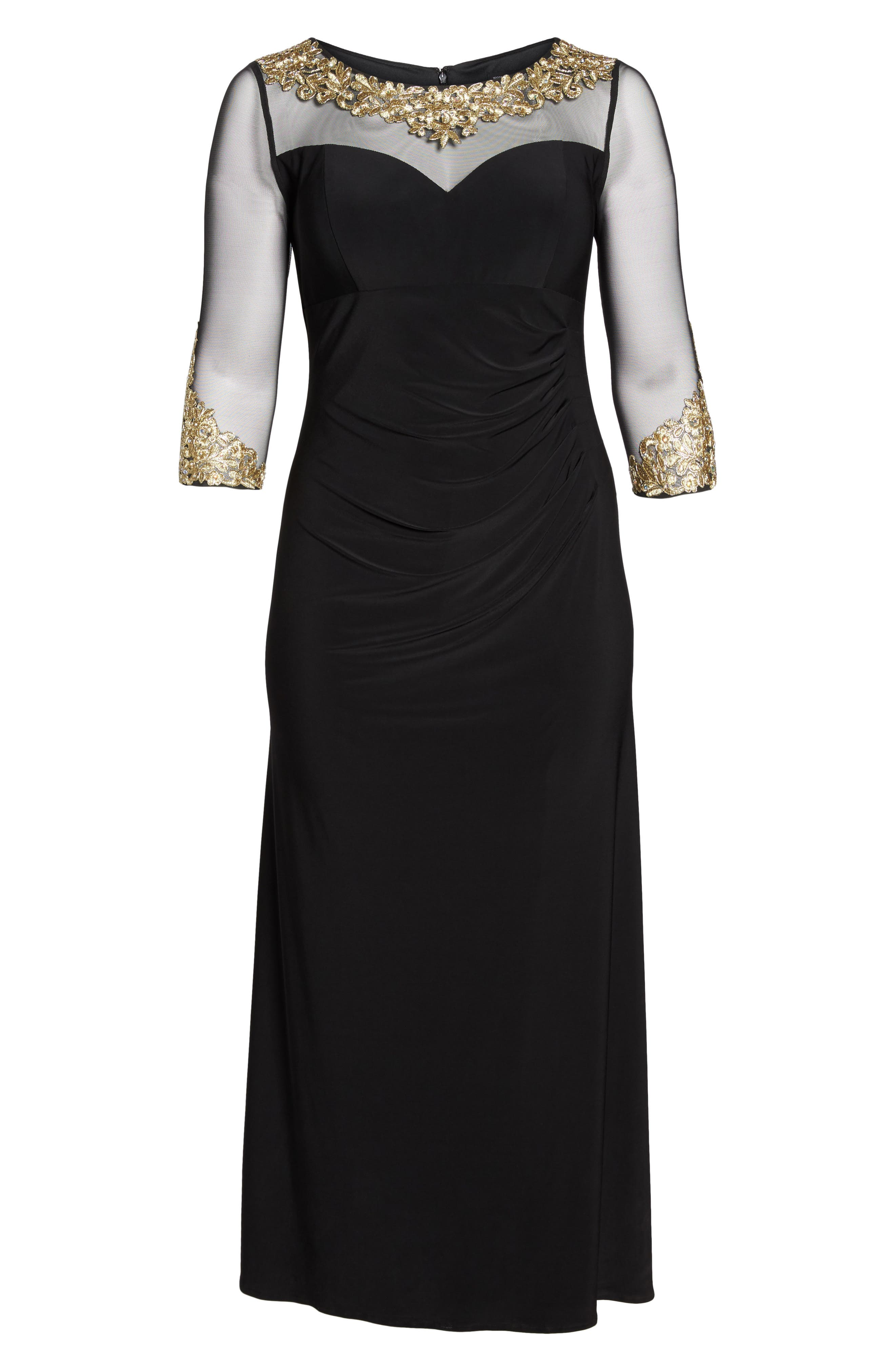 Embroidered A-Line Gown,                             Alternate thumbnail 6, color,                             Black/ Gold