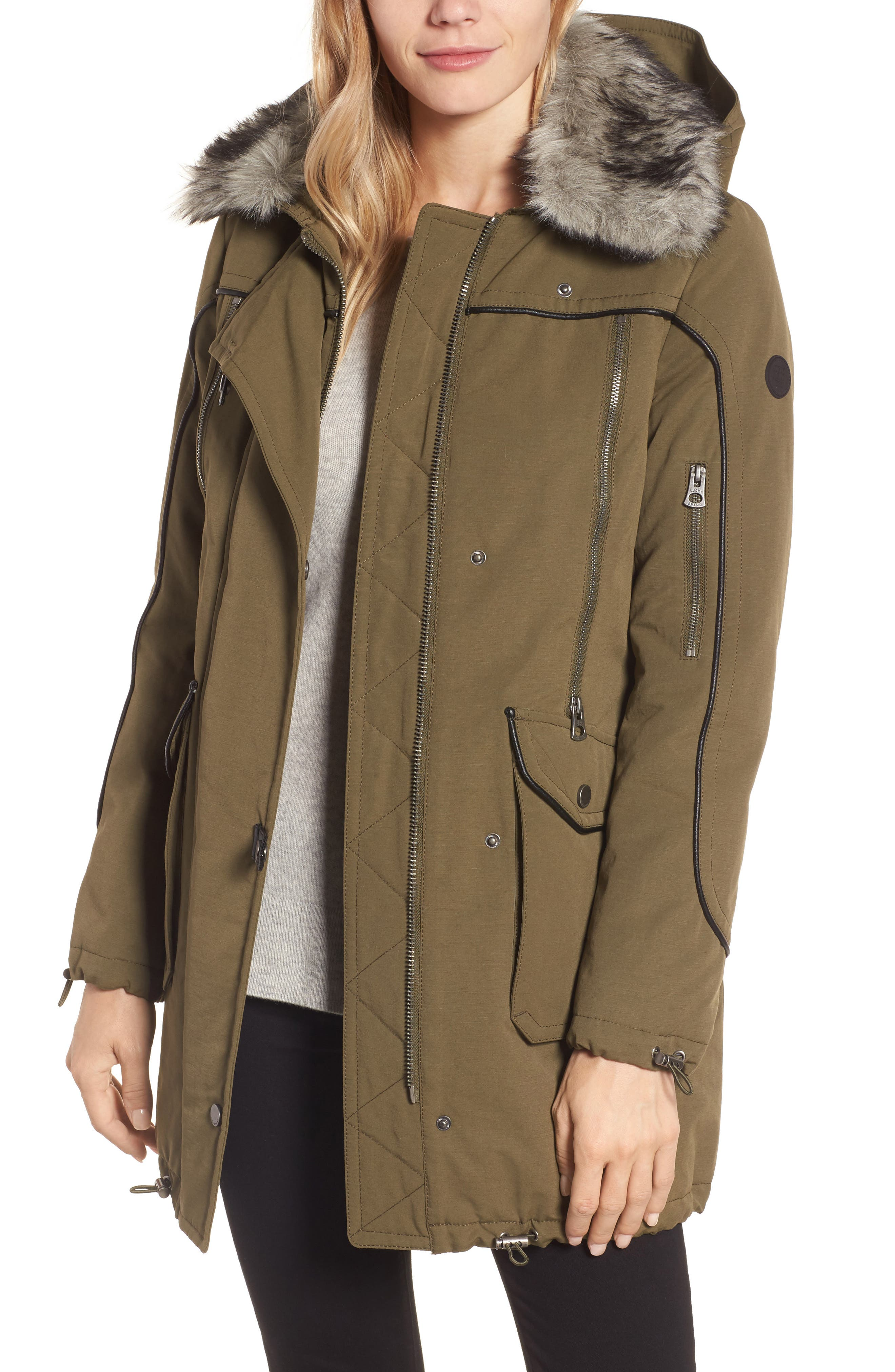 Lucky Brand Zip Detail Parka with Faux Fur