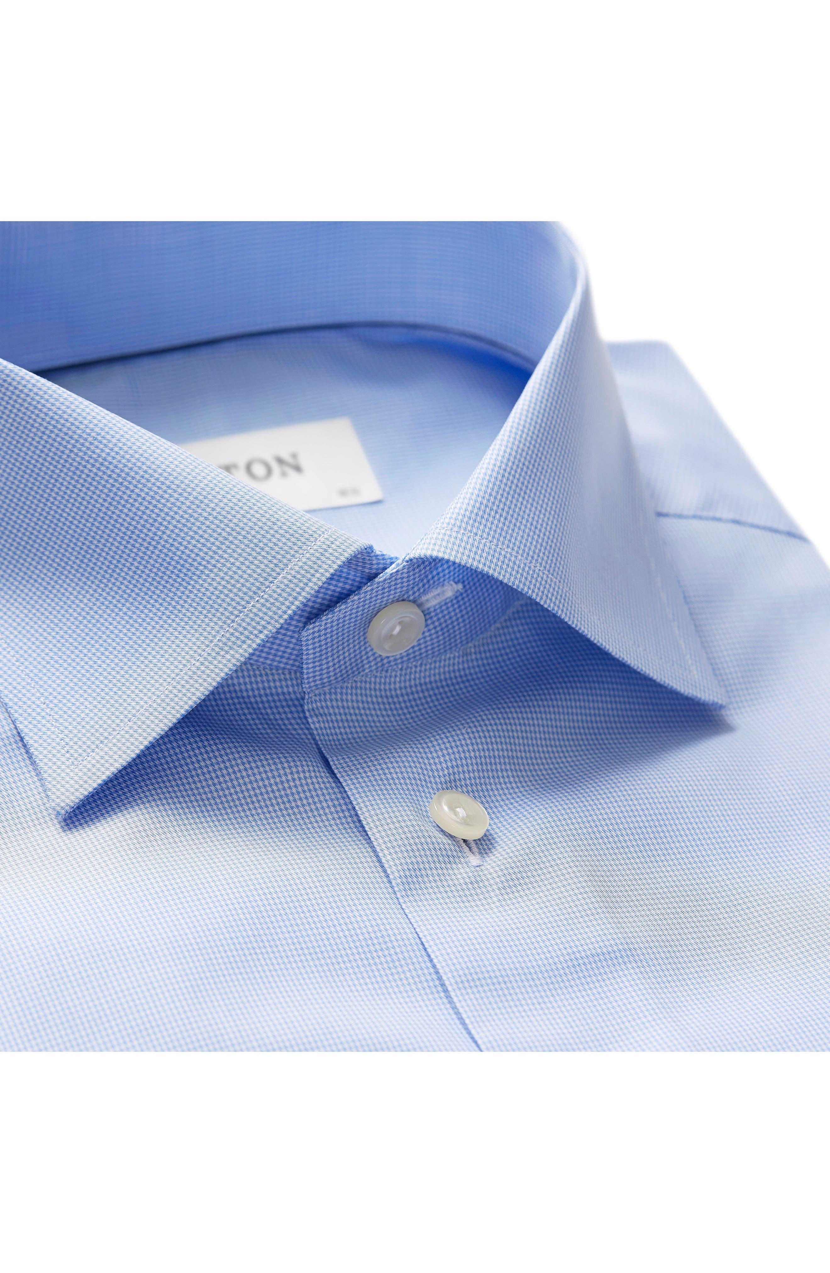 Slim Fit Houndstooth Dress Shirt,                             Alternate thumbnail 2, color,                             Blue