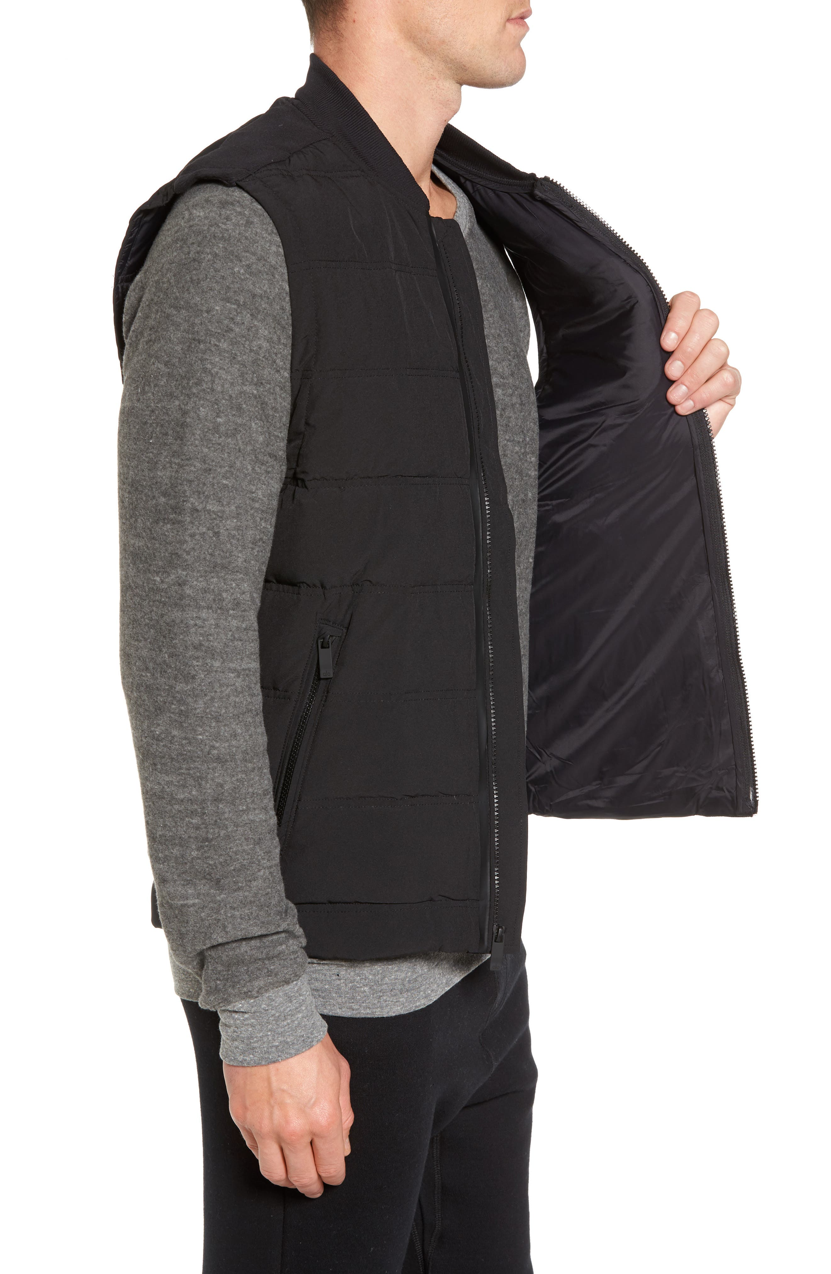 Mantra Relaxed Down Vest,                             Alternate thumbnail 3, color,                             Black