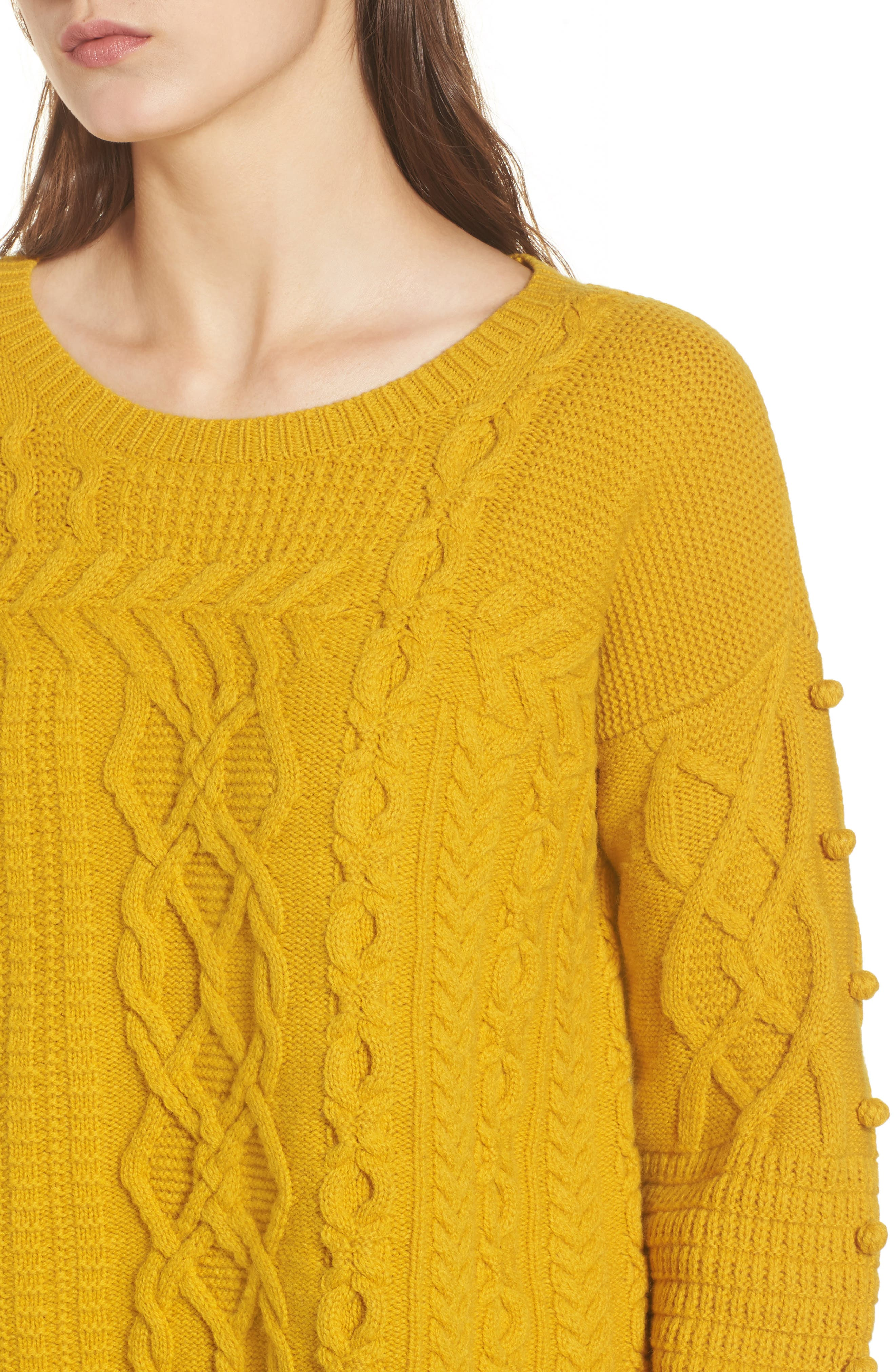 Open Side Bobble Pullover Sweater,                             Alternate thumbnail 4, color,                             Mystic Yellow