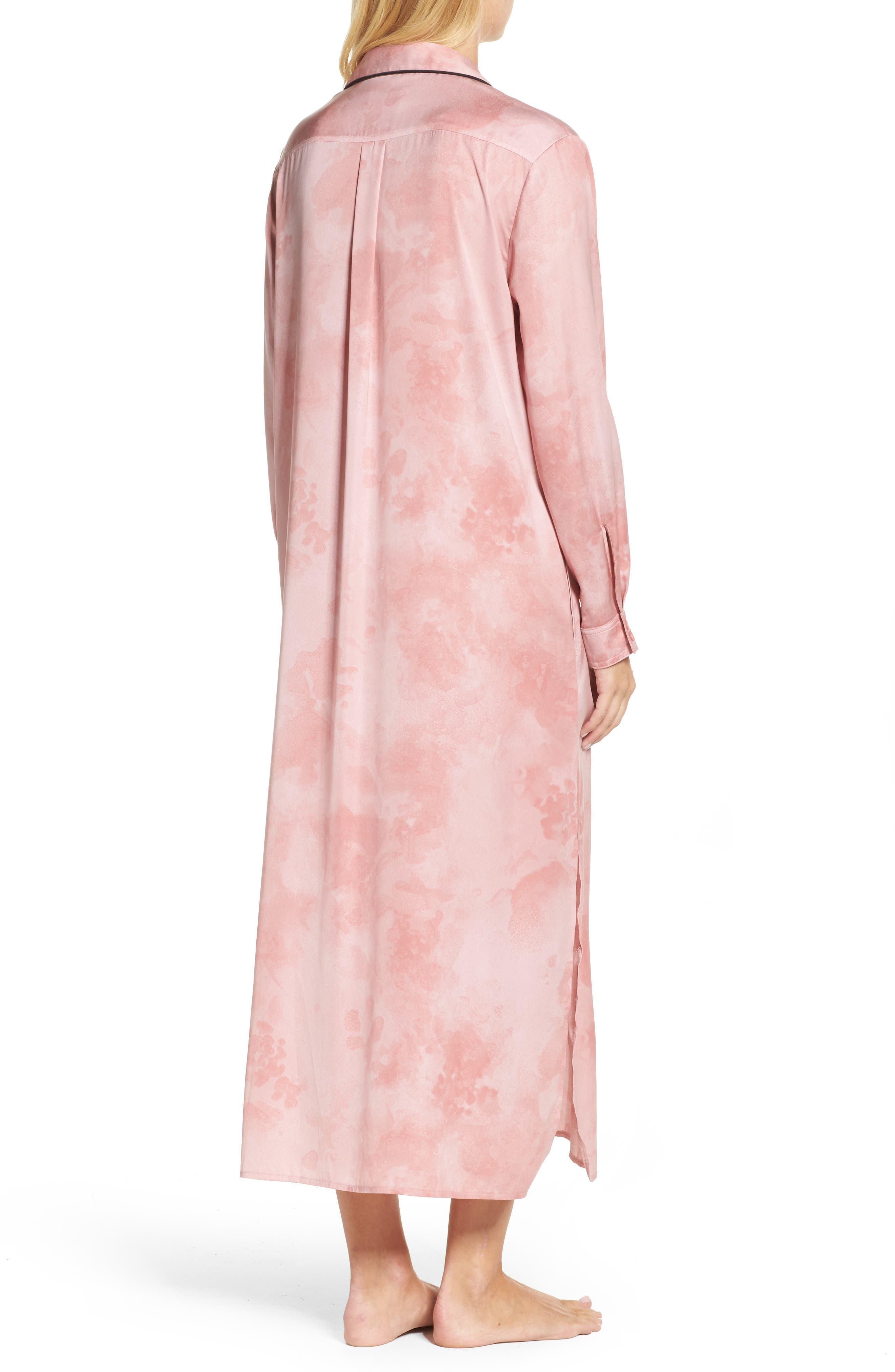 Washed Satin Maxi Sleep Shirt,                             Alternate thumbnail 2, color,                             Pink Floral