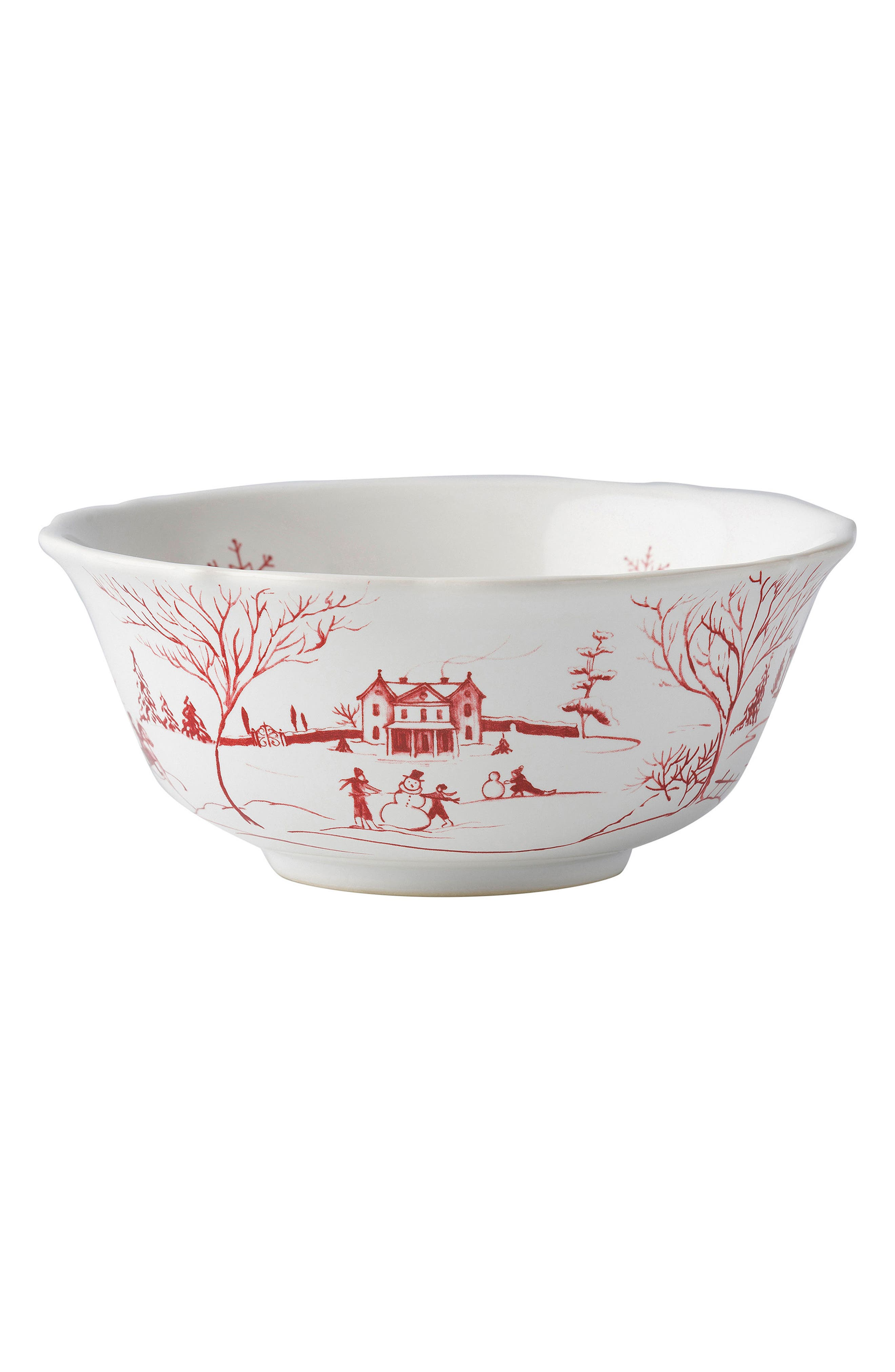 Winter Frolic Ceramic Cereal Bowl,                             Alternate thumbnail 2, color,                             Ruby