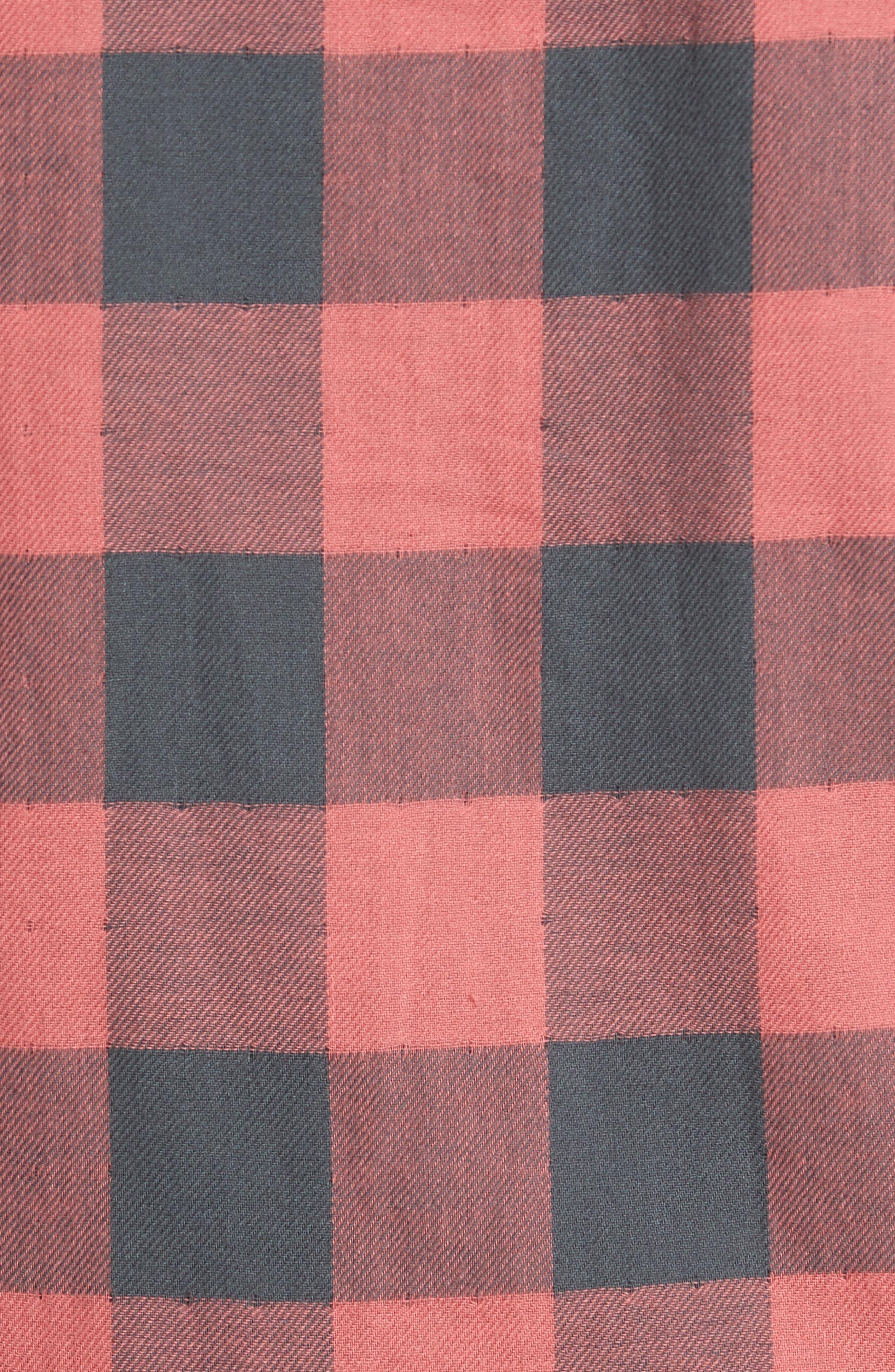 Belmar Trim Fit Long Sleeve Reversible Sport Shirt,                             Alternate thumbnail 5, color,                             Grey / Red Buffalo Check