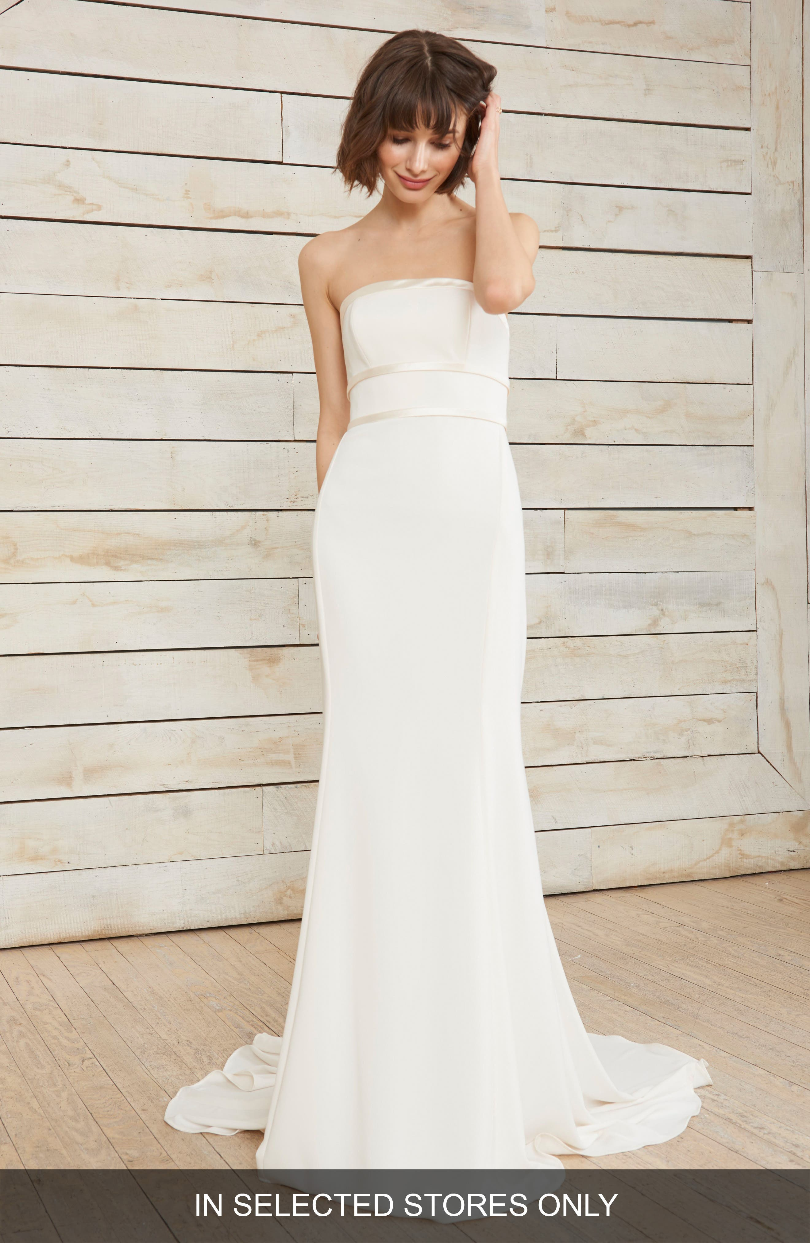 Arielle Bow Detail Strapless Crepe Gown,                         Main,                         color, Ivory