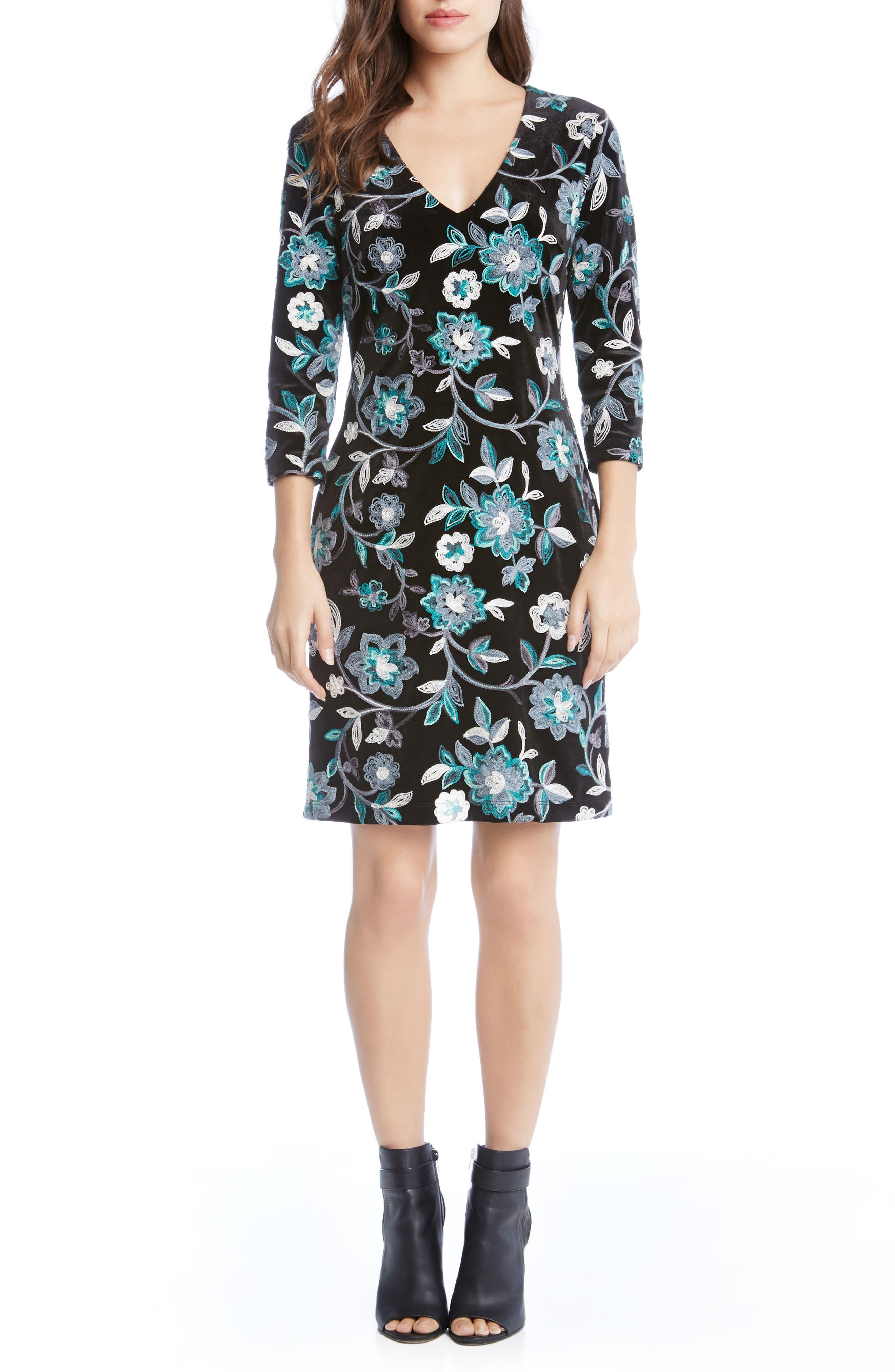 Embroidered Velvet Dress,                             Main thumbnail 1, color,                             Multi-Colored