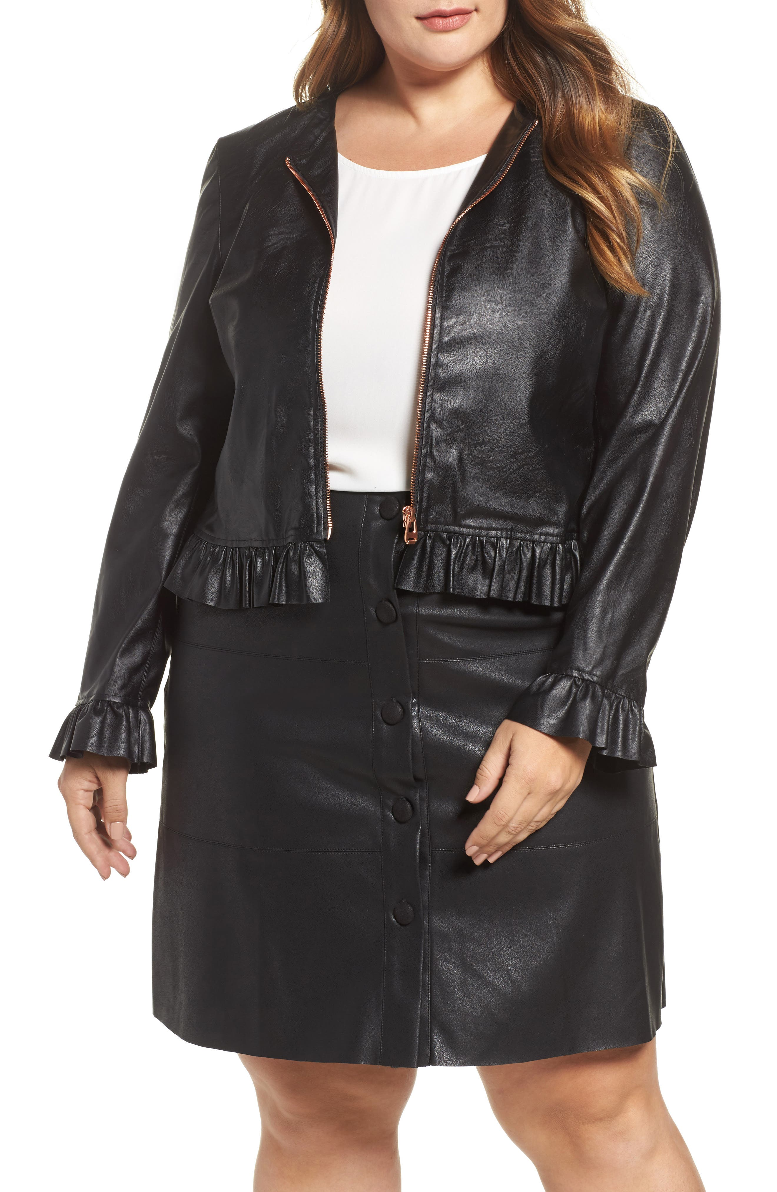Faux Leather Frill Jacket,                         Main,                         color, Black