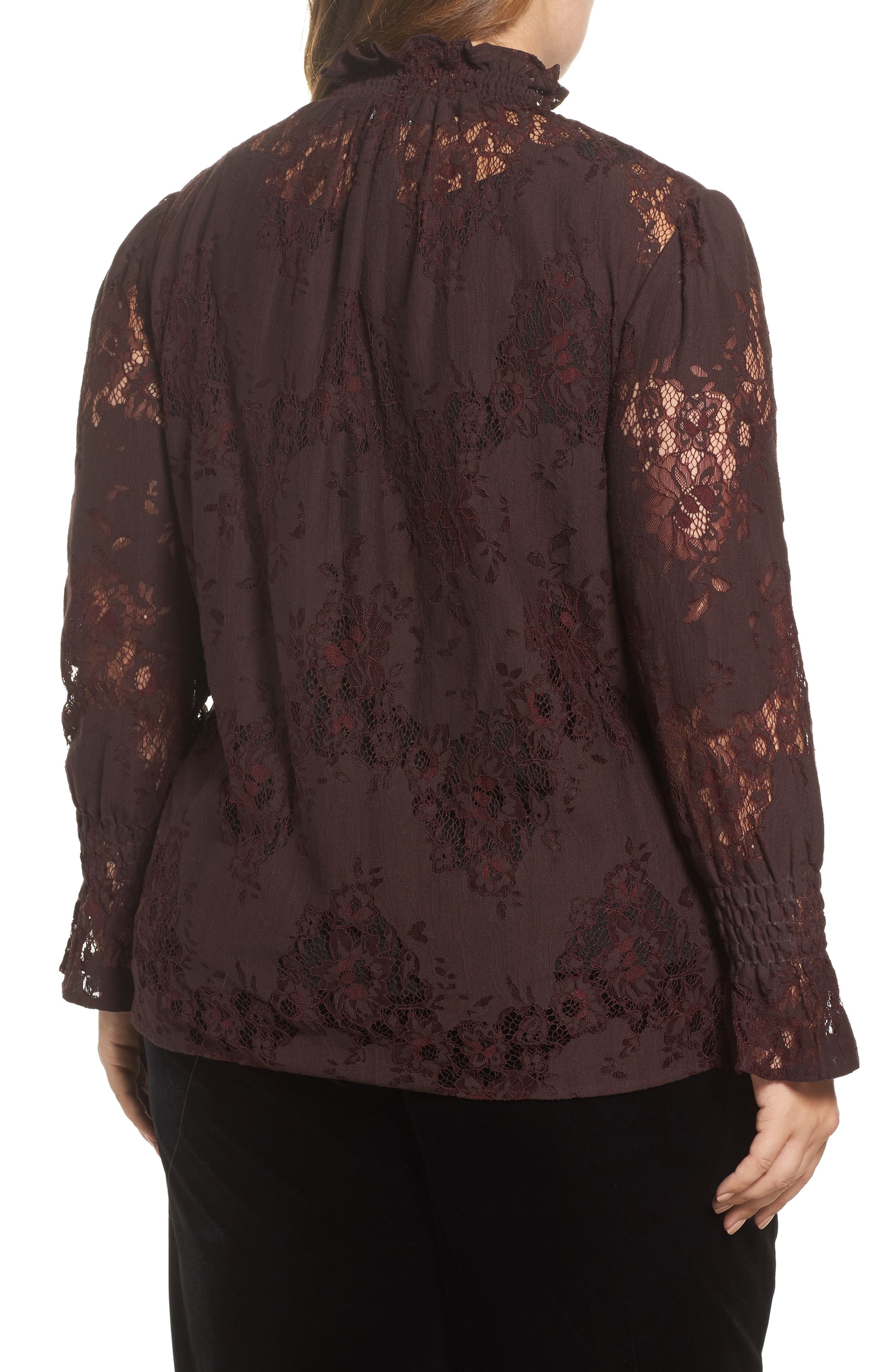High Neck Ruffle & Lace Blouse,                             Alternate thumbnail 2, color,                             Burgundy