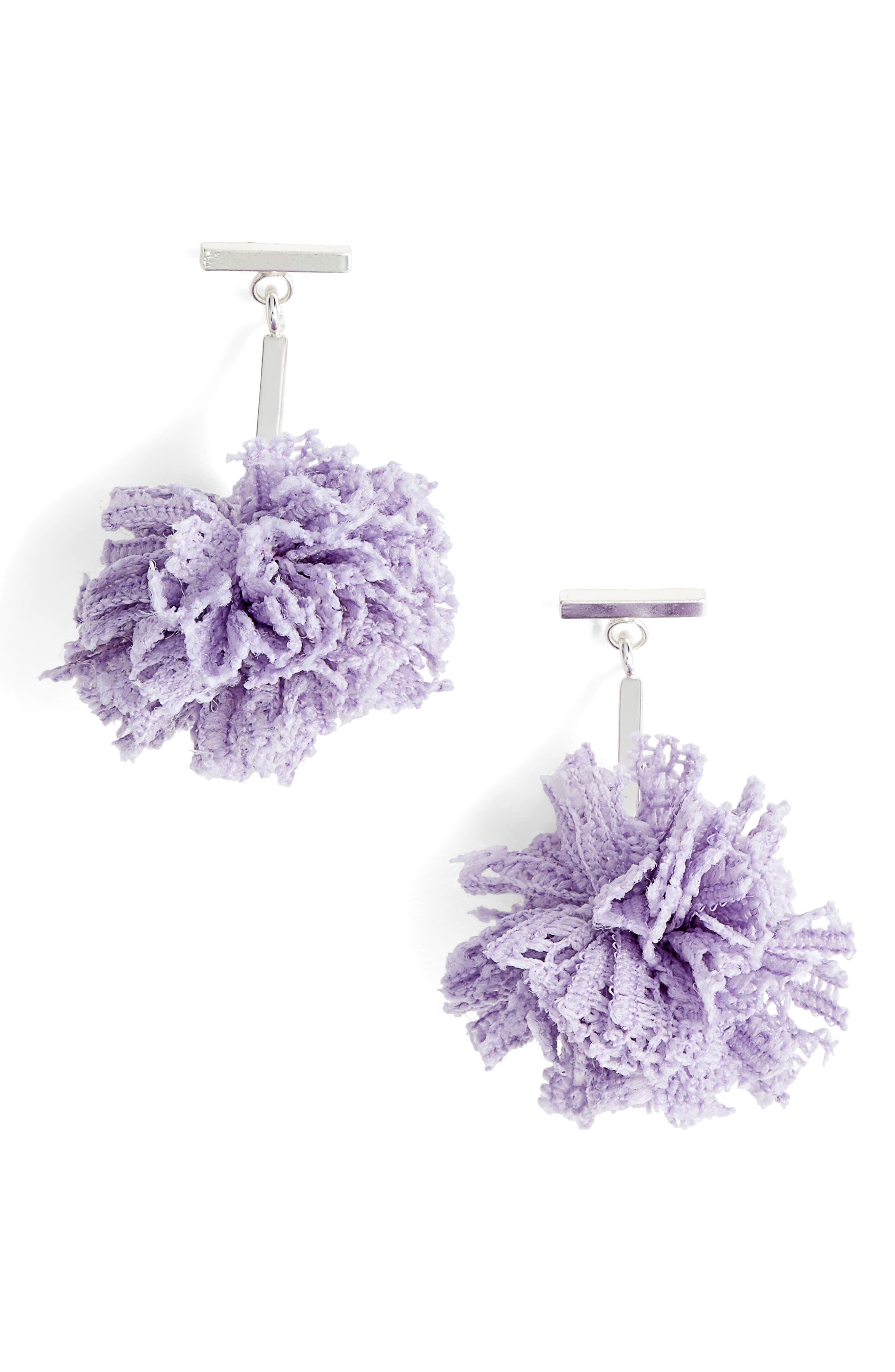Lace Pom Pom T-Bar Stud Earrings,                             Main thumbnail 1, color,                             Silver/ Lavender