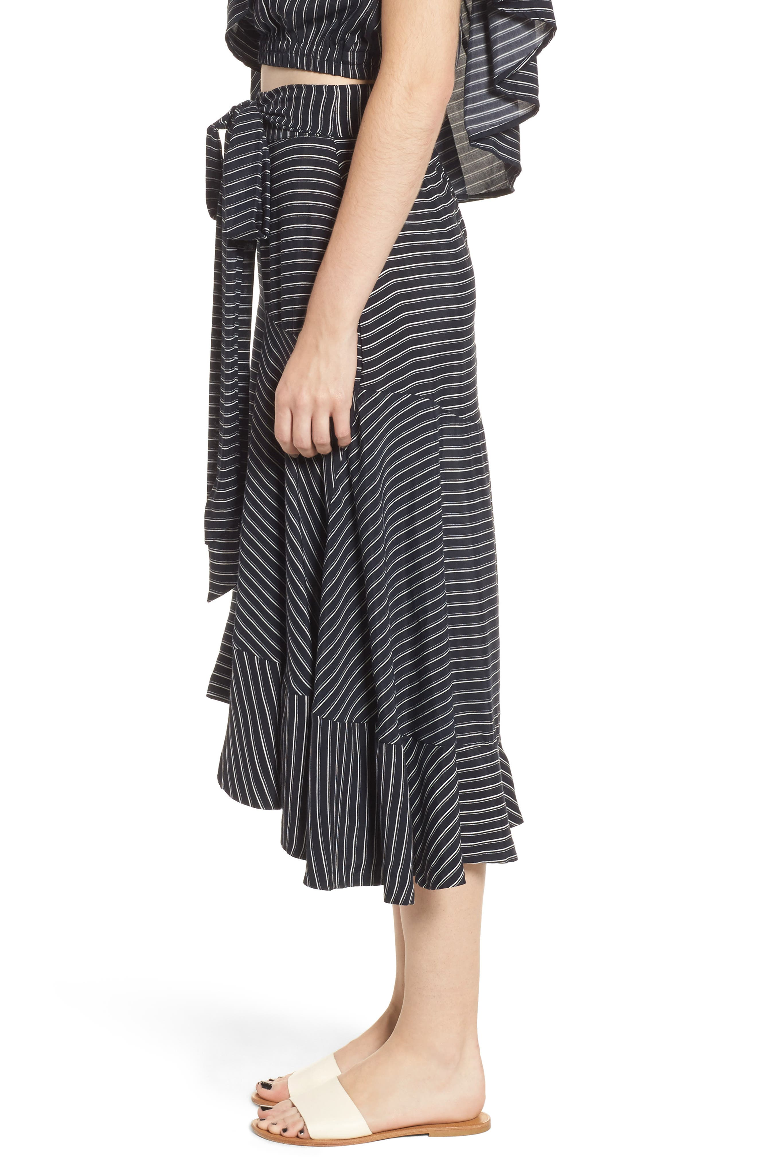 Kamares Ruffle Midi Skirt,                             Alternate thumbnail 3, color,                             San Cristobal Stripe Print