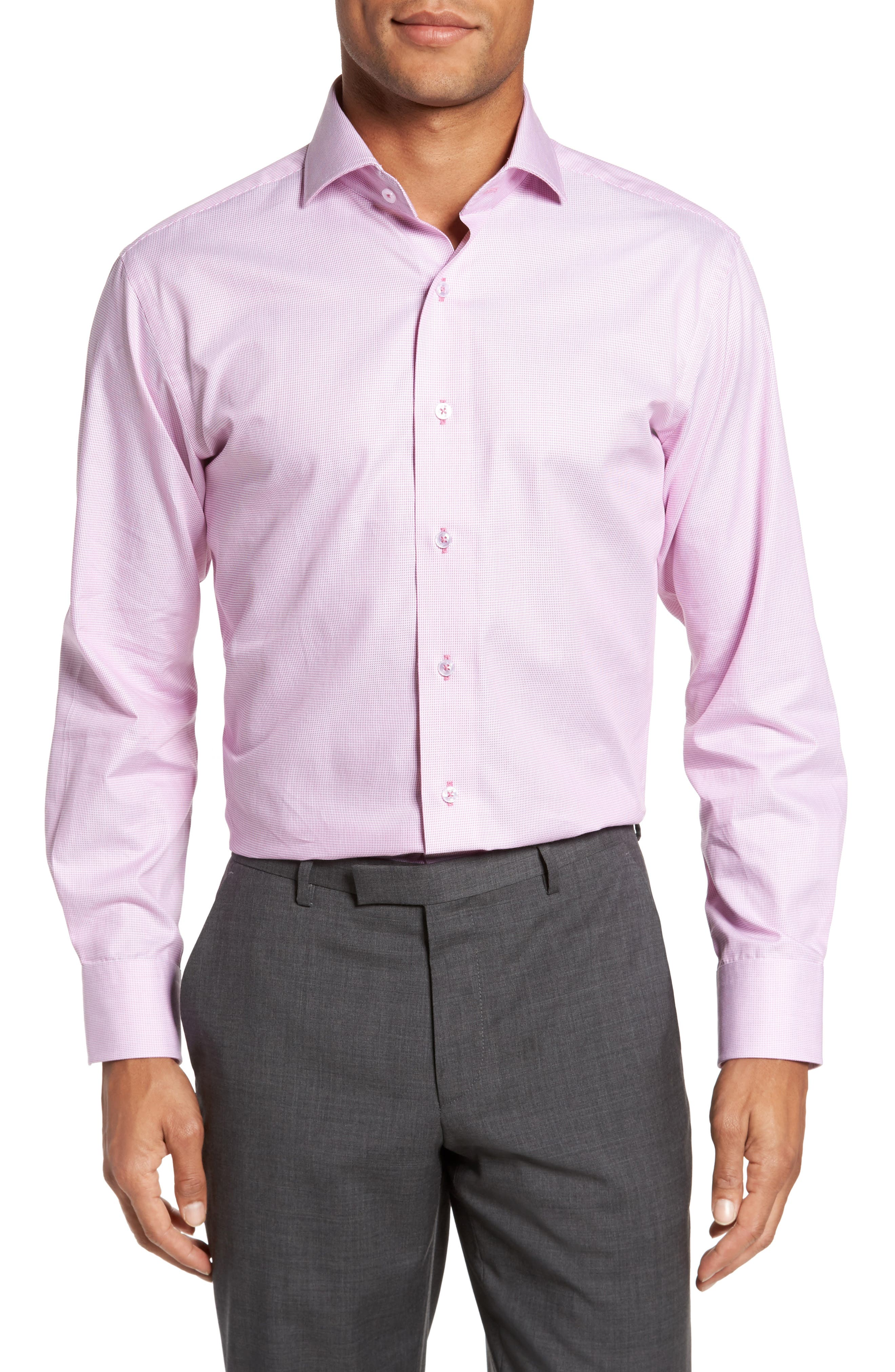 Trim Fit Solid Dress Shirt,                         Main,                         color, Pink