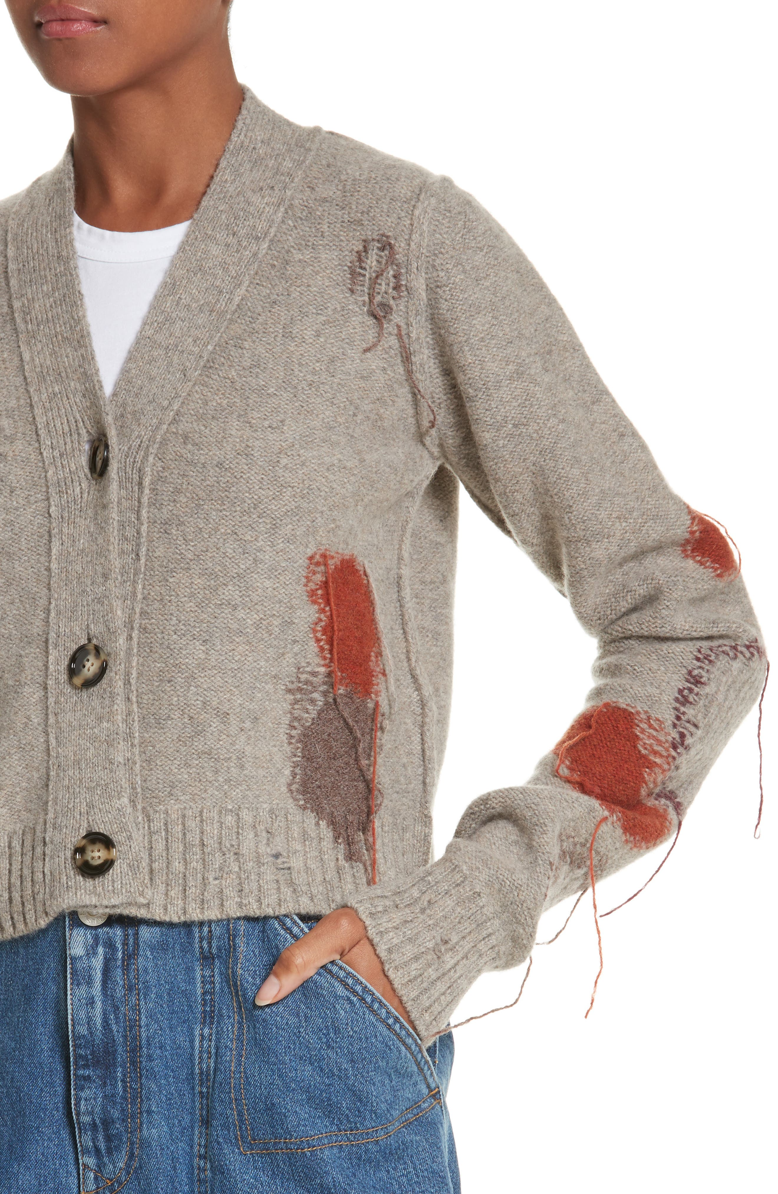 Lysa Distressed Wool Button Cardigan,                             Alternate thumbnail 4, color,                             Stone Beige