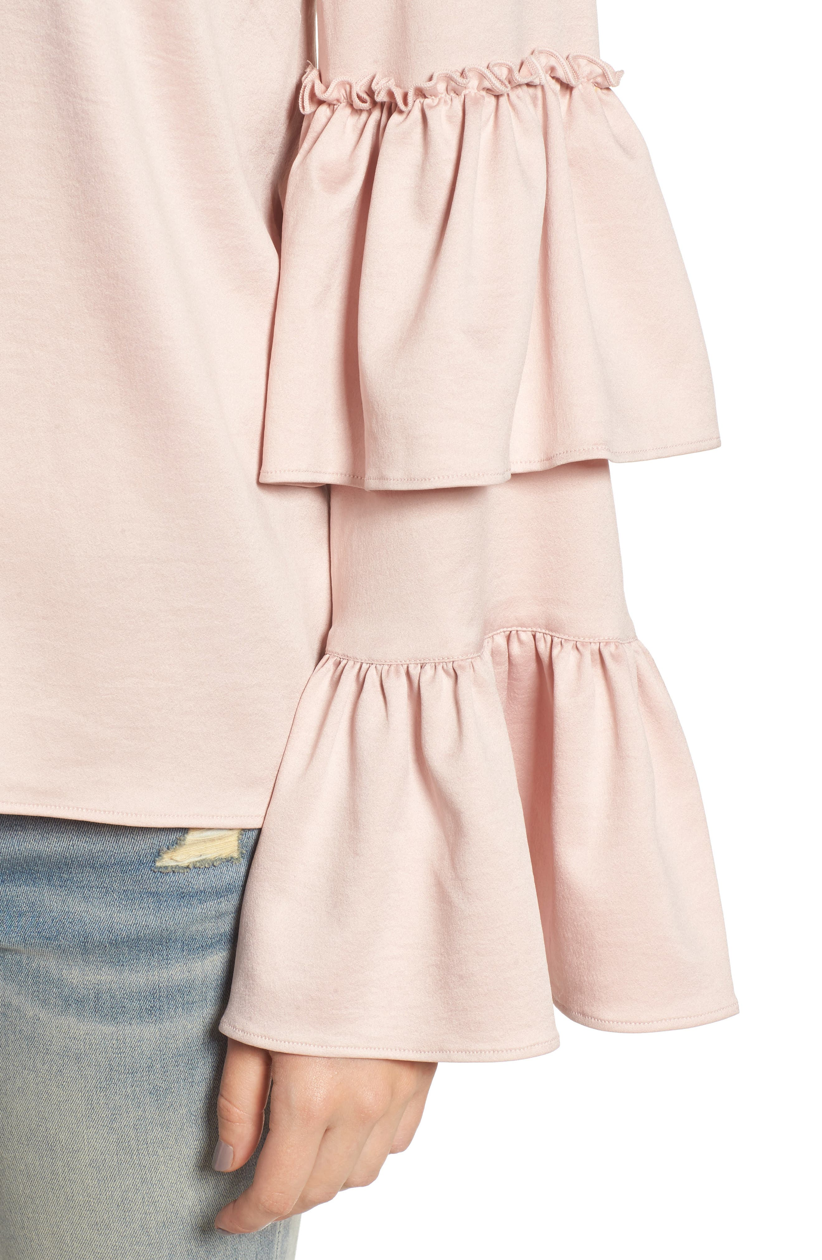 Ruffle Sleeve Satin Blouse,                             Alternate thumbnail 4, color,                             Pink Peach