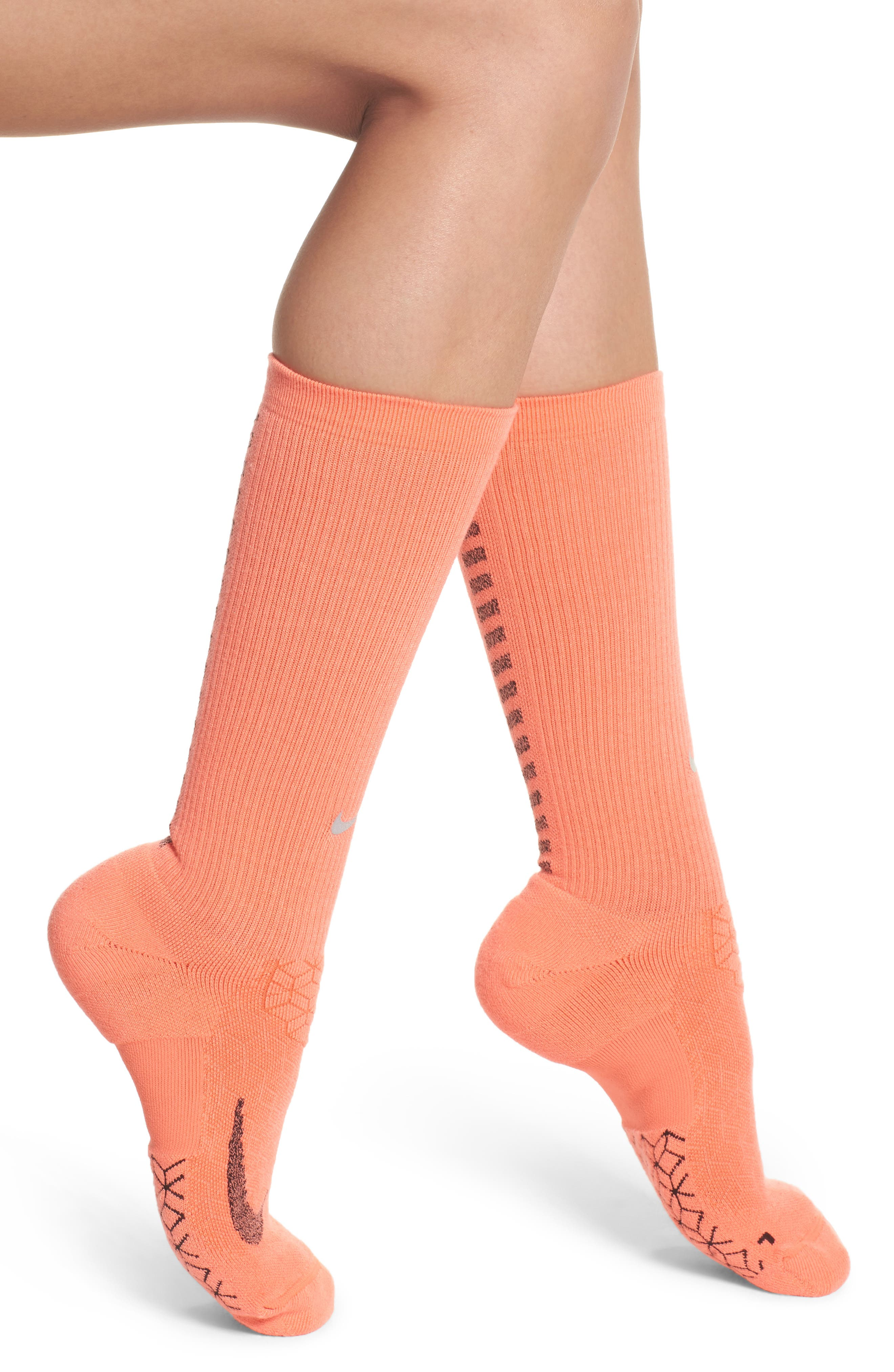 Elite Cushioned Running Crew Socks,                             Main thumbnail 1, color,                             Light Wild Mango/ Black