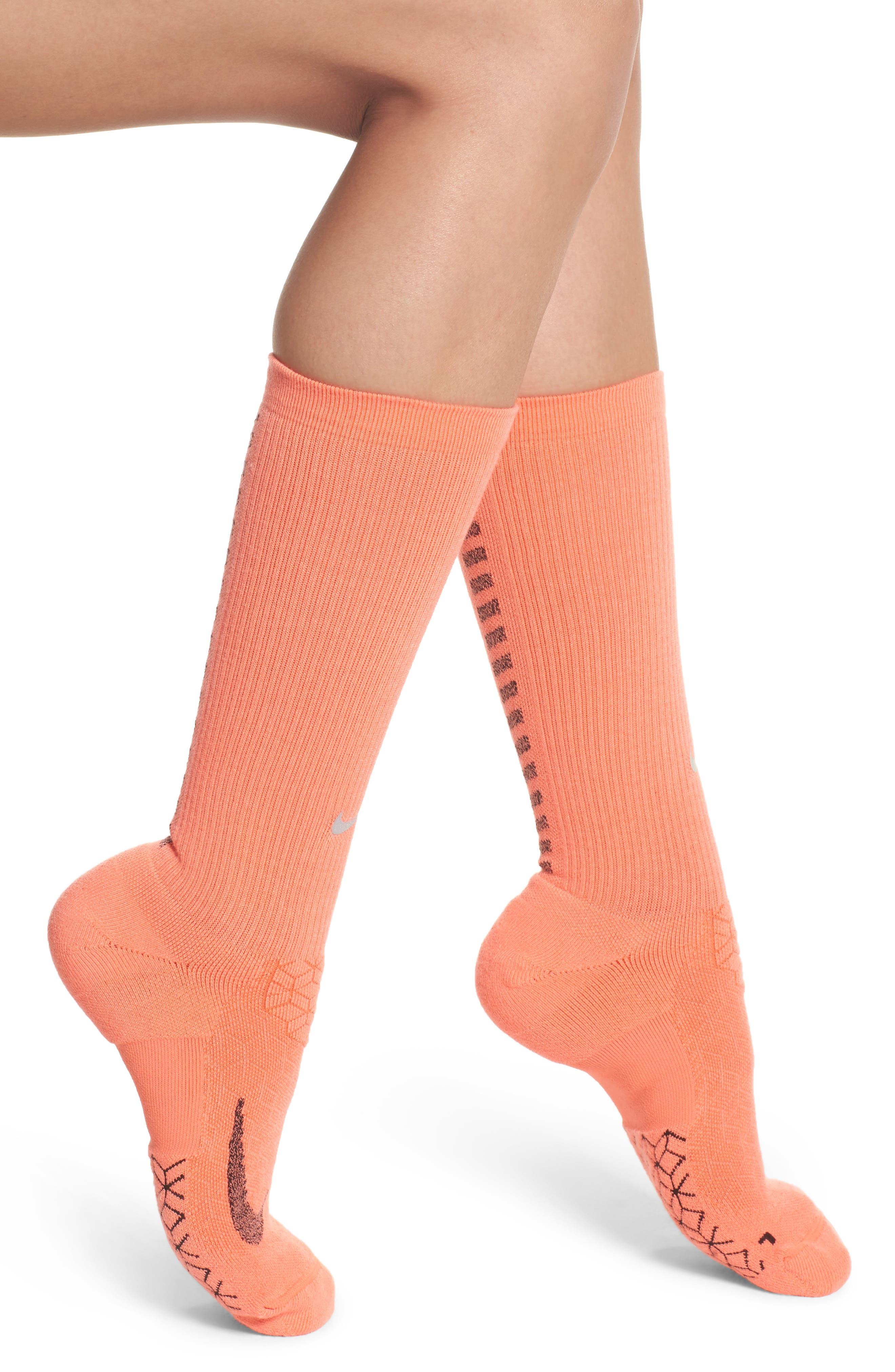 Elite Cushioned Running Crew Socks,                         Main,                         color, Light Wild Mango/ Black