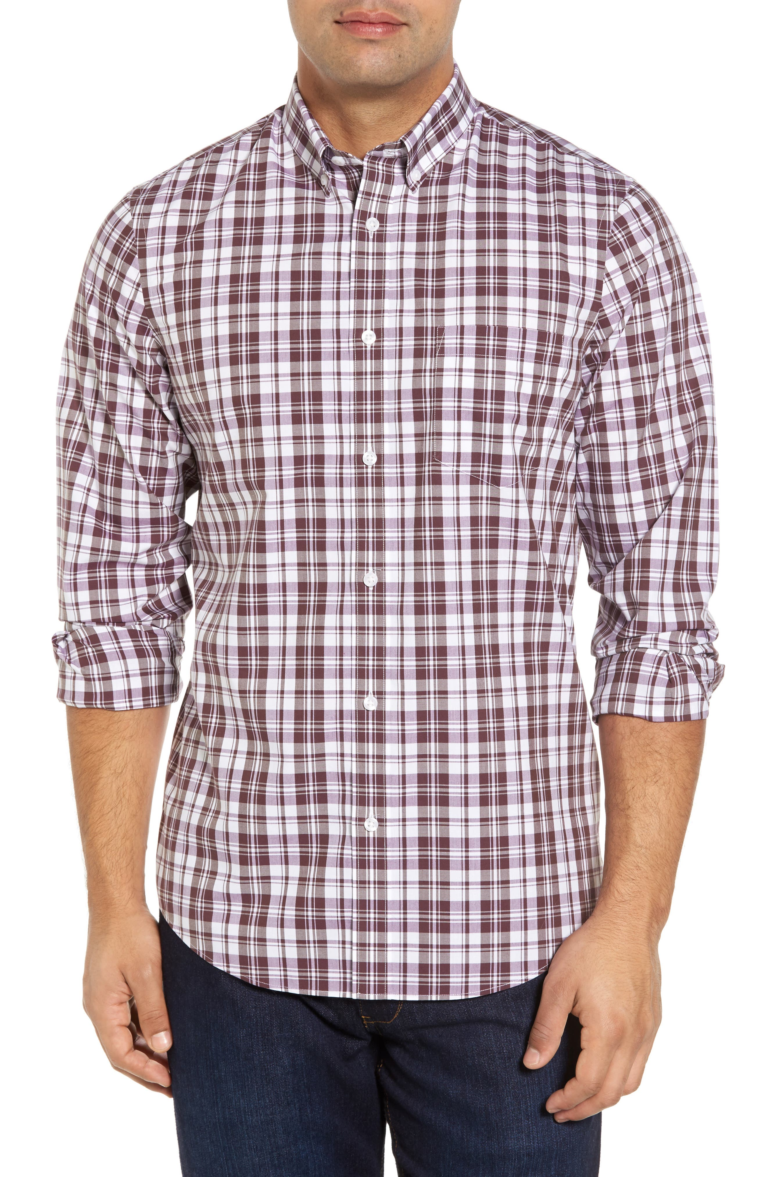 Smartcare<sup>™</sup> Regular Fit Plaid Sport Shirt,                         Main,                         color, Purple Plum White Plaid