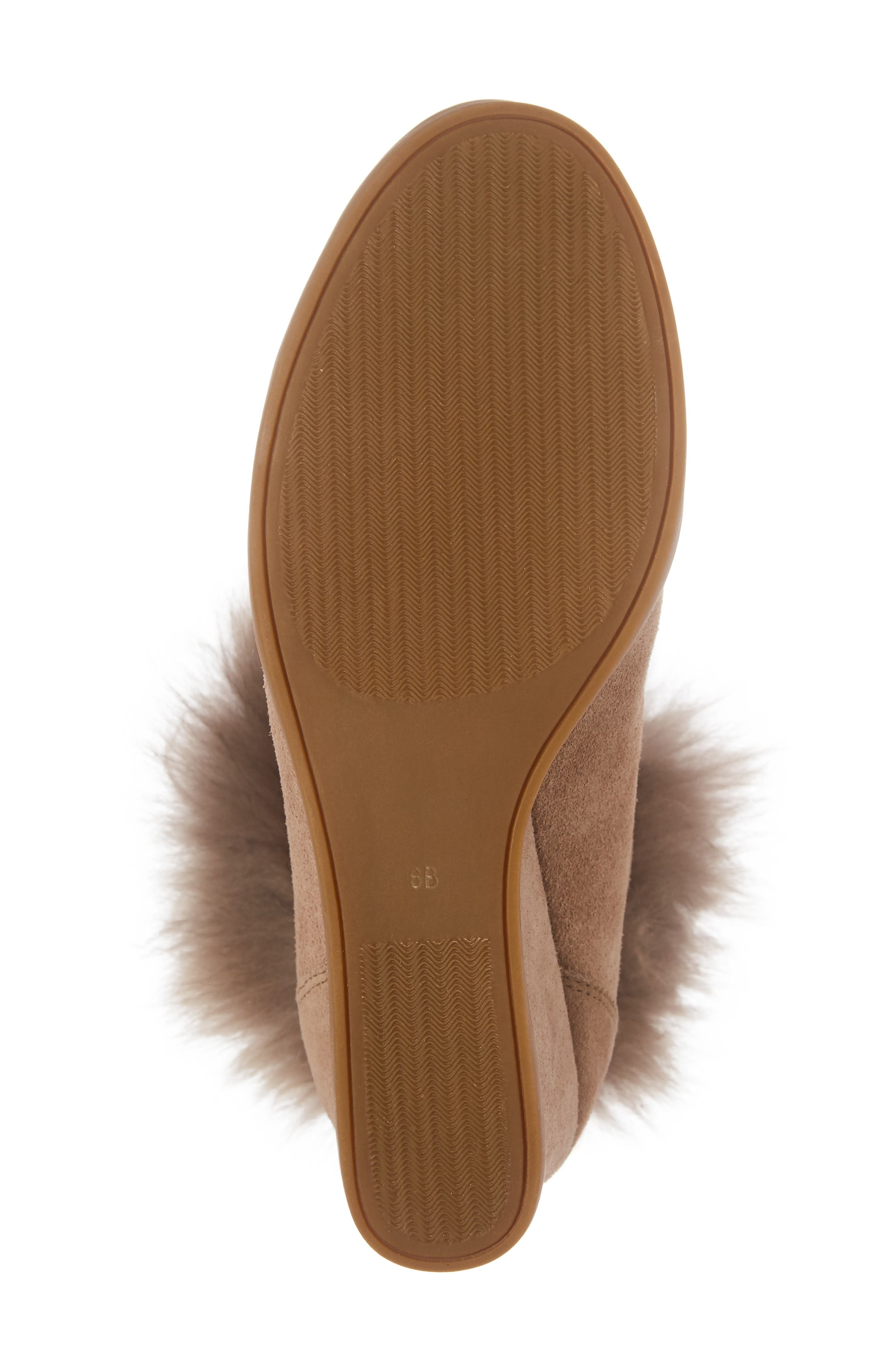 Holly Wedge Bootie with Genuine Fox Fur Trim,                             Alternate thumbnail 6, color,                             Natural Suede