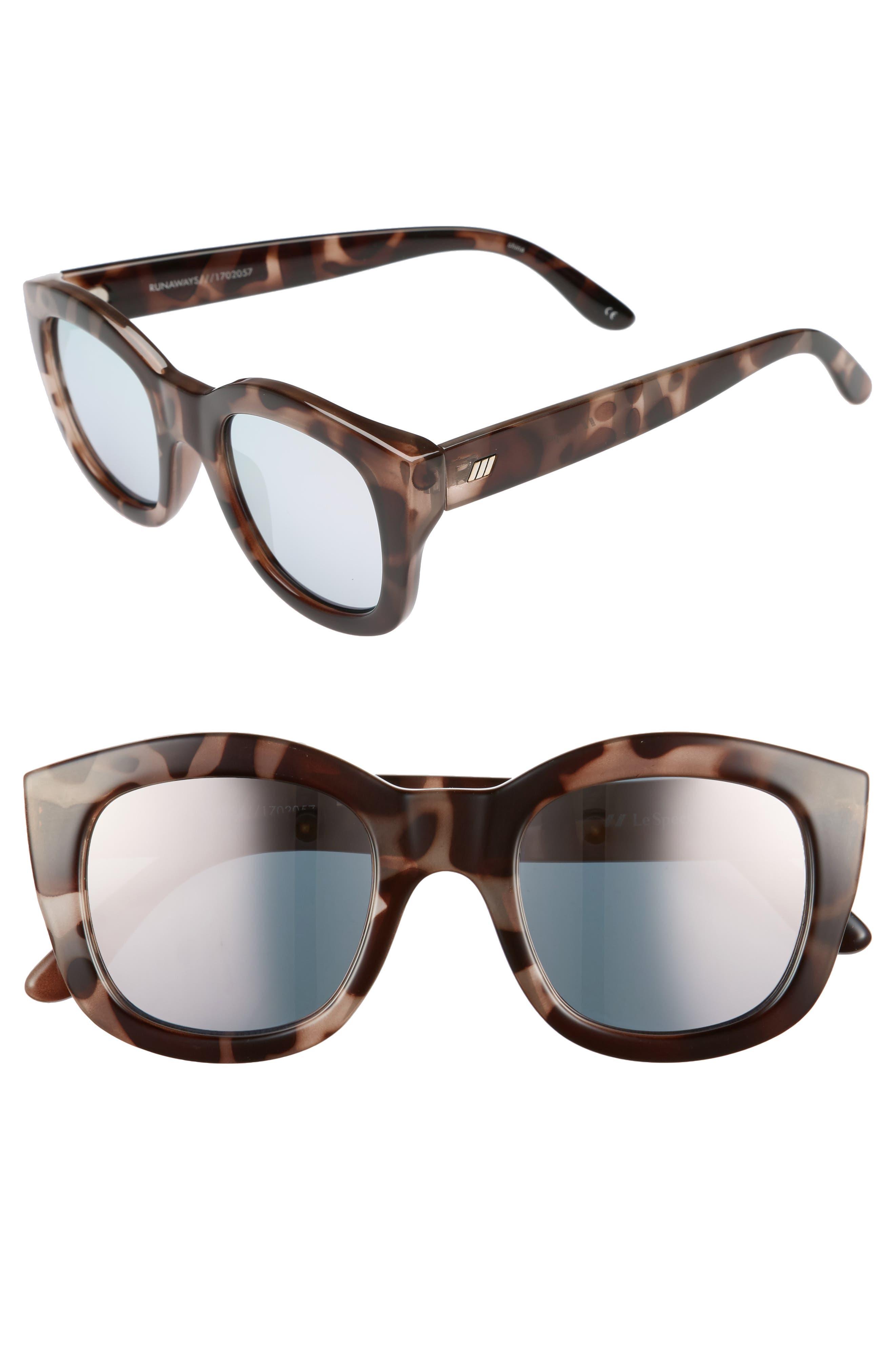 Runaways 48mm Rectangular Sunglasses,                         Main,                         color, Volcanic Tortoise