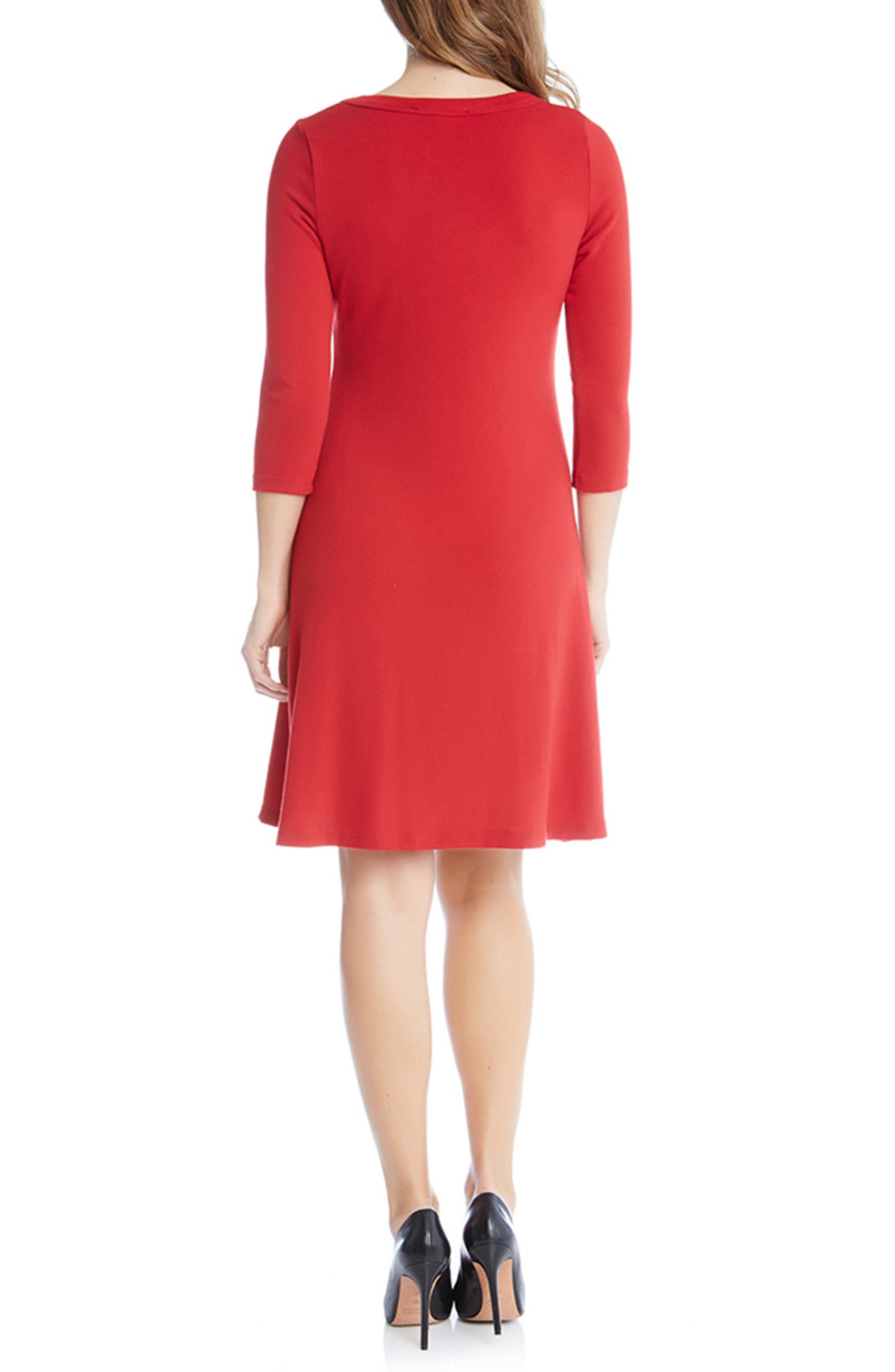 A-Line Sweater Dress,                             Alternate thumbnail 2, color,                             Red