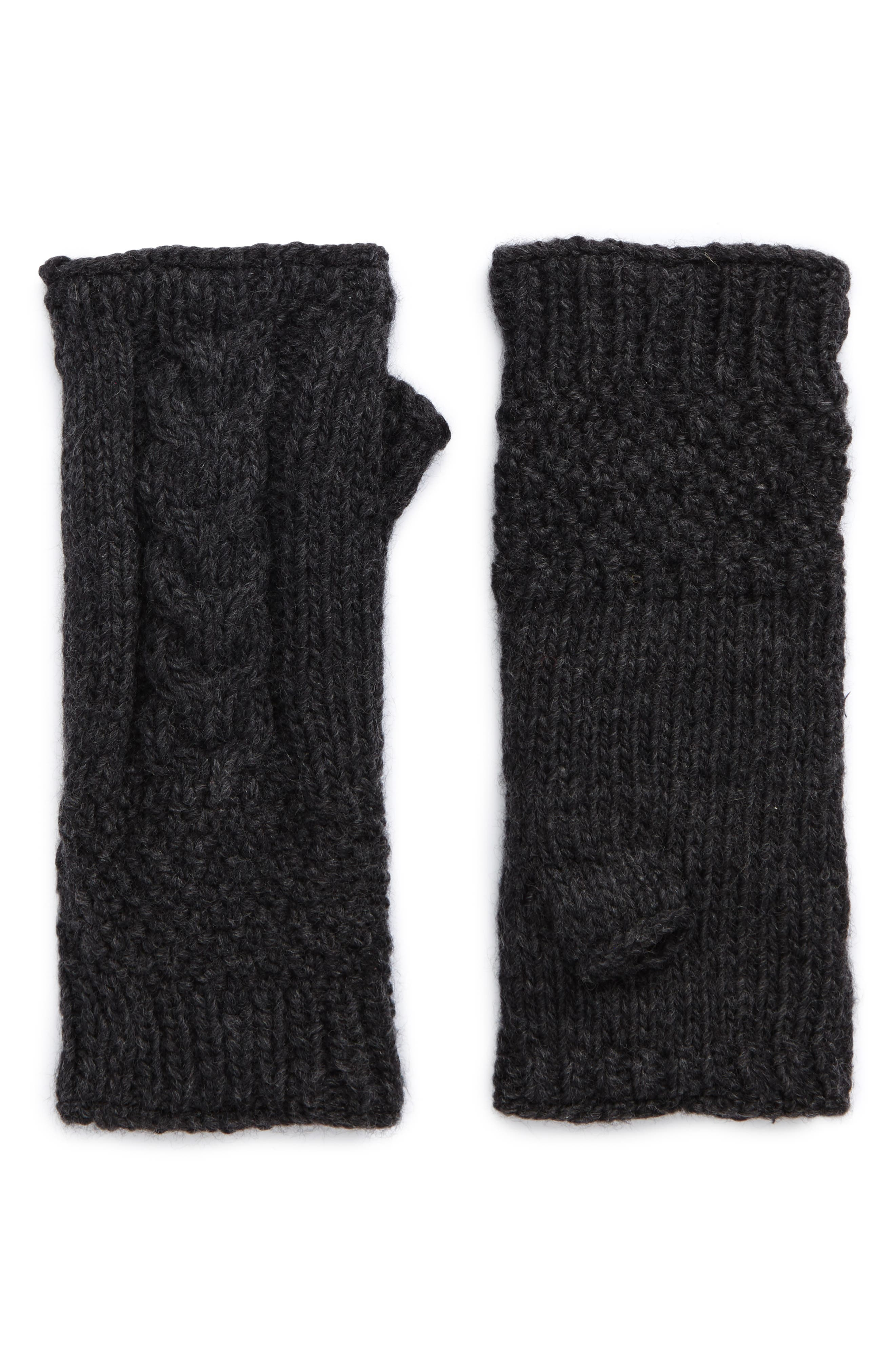 NirvannaDesigns Cable Knit Hand Warmers,                         Main,                         color, Charcoal