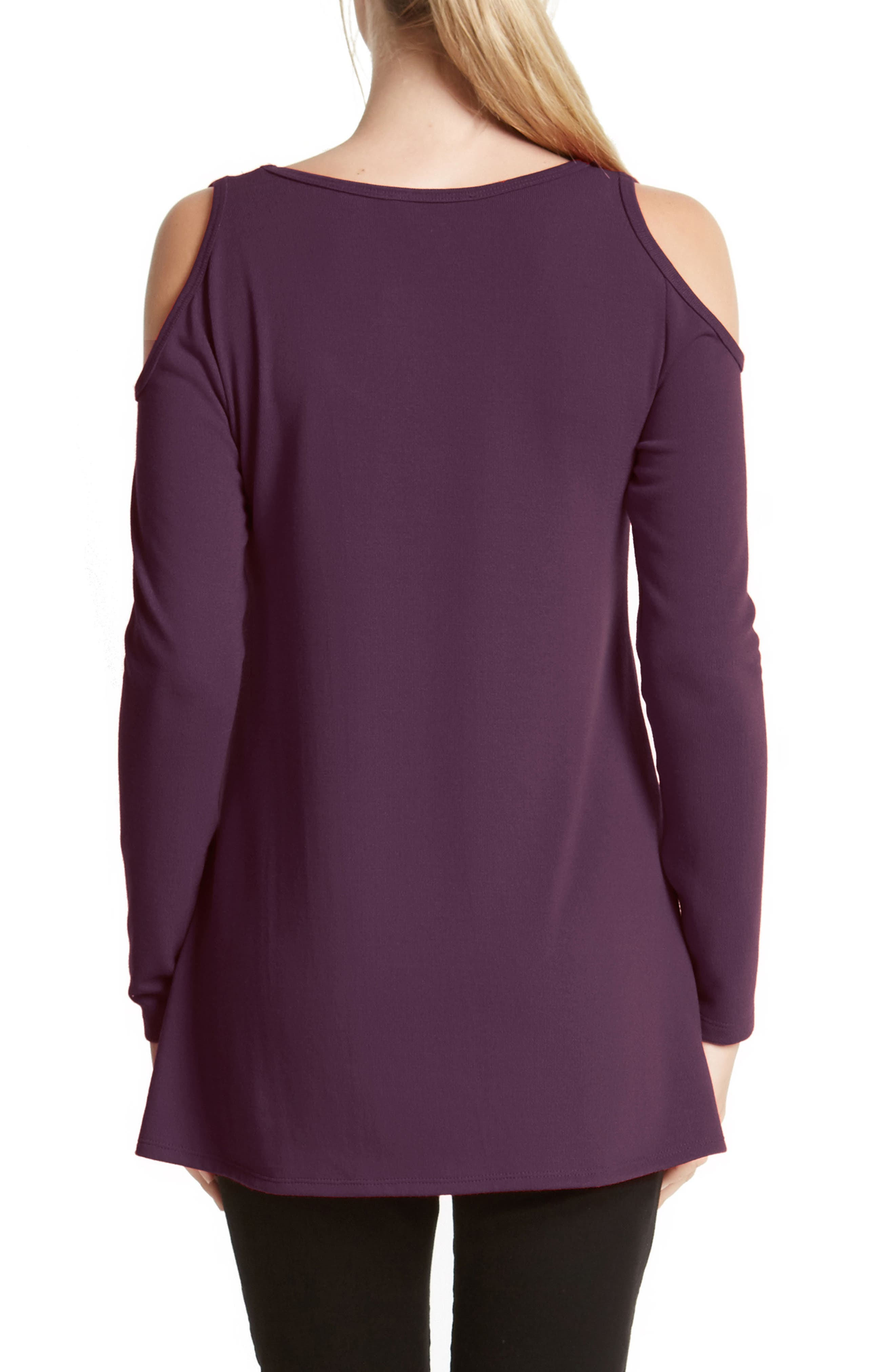 High/Low Cold Shoulder Sweater,                             Alternate thumbnail 2, color,                             Eggplant