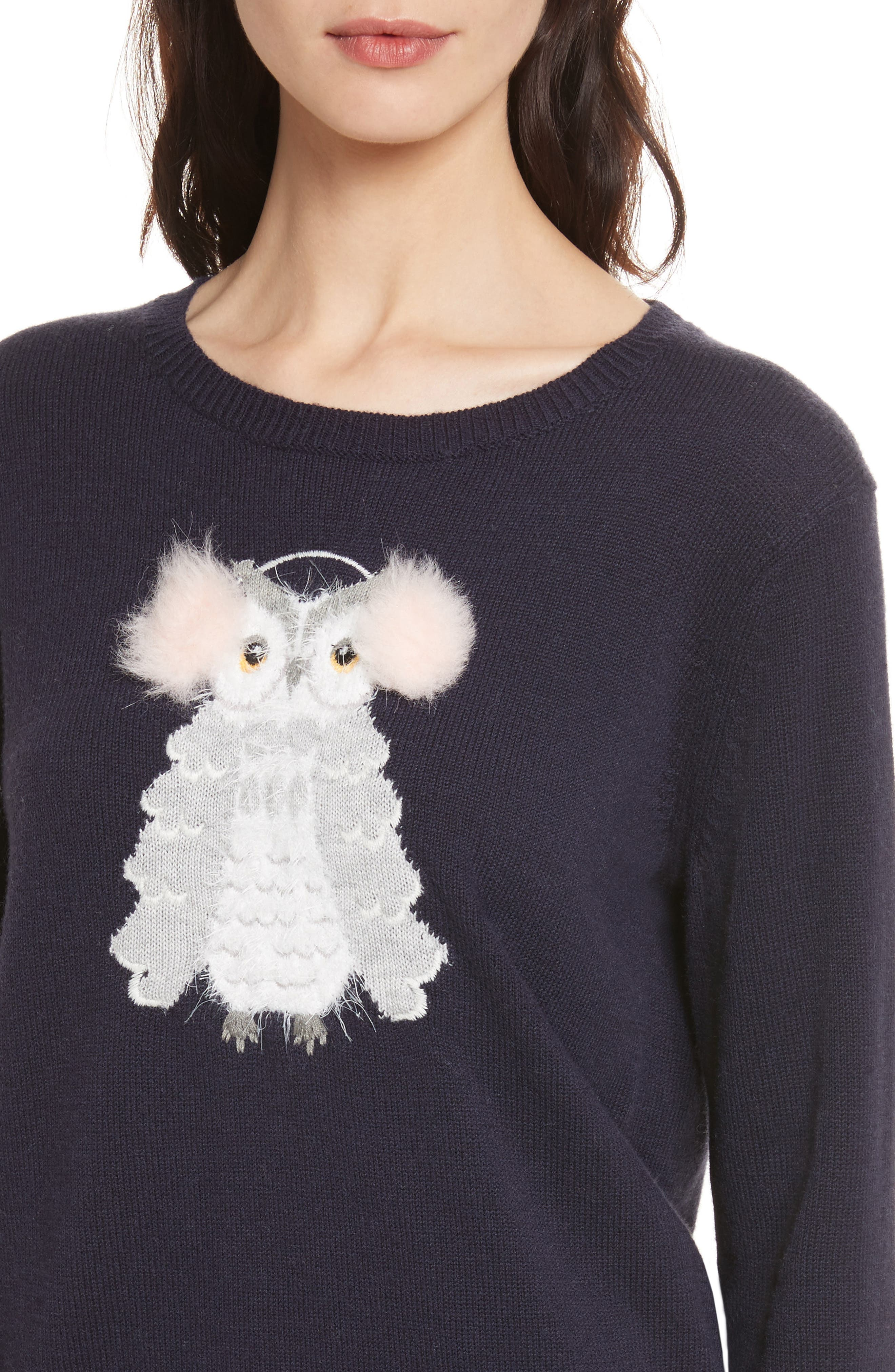 owl sweater,                             Alternate thumbnail 4, color,                             Navy Multi