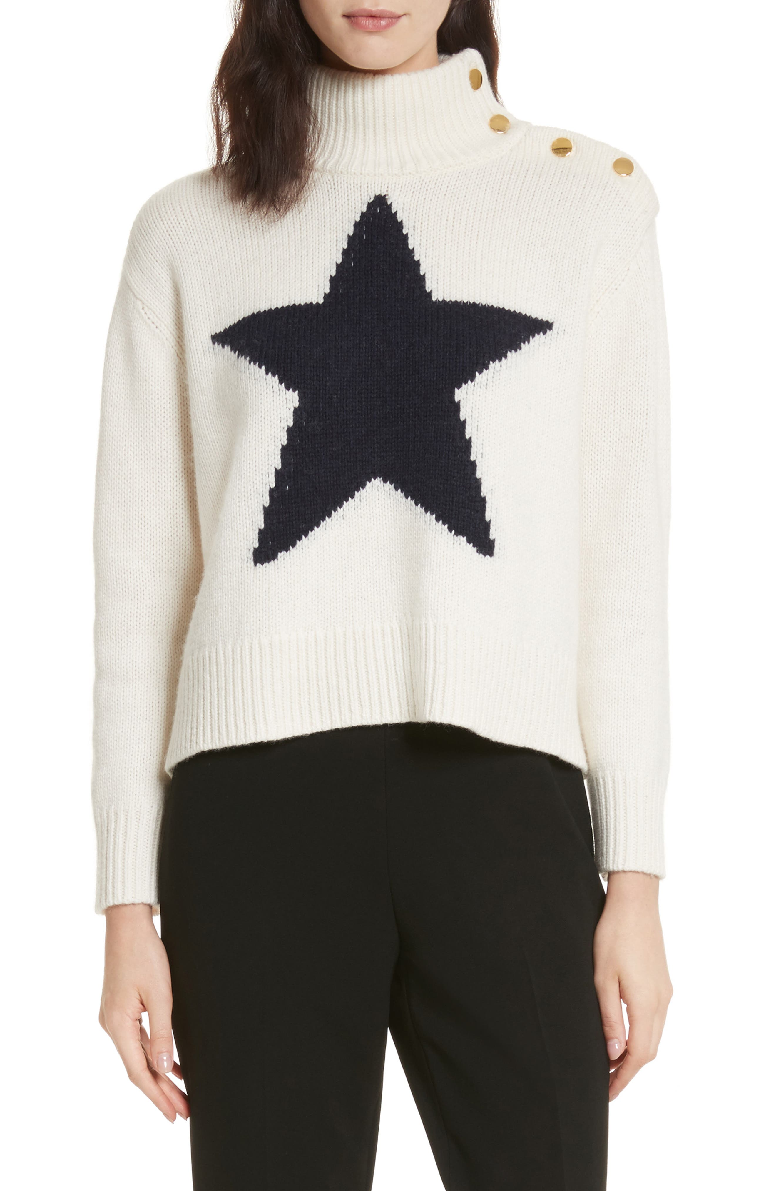 star turtleneck sweater,                             Main thumbnail 1, color,                             Cream/ Navy