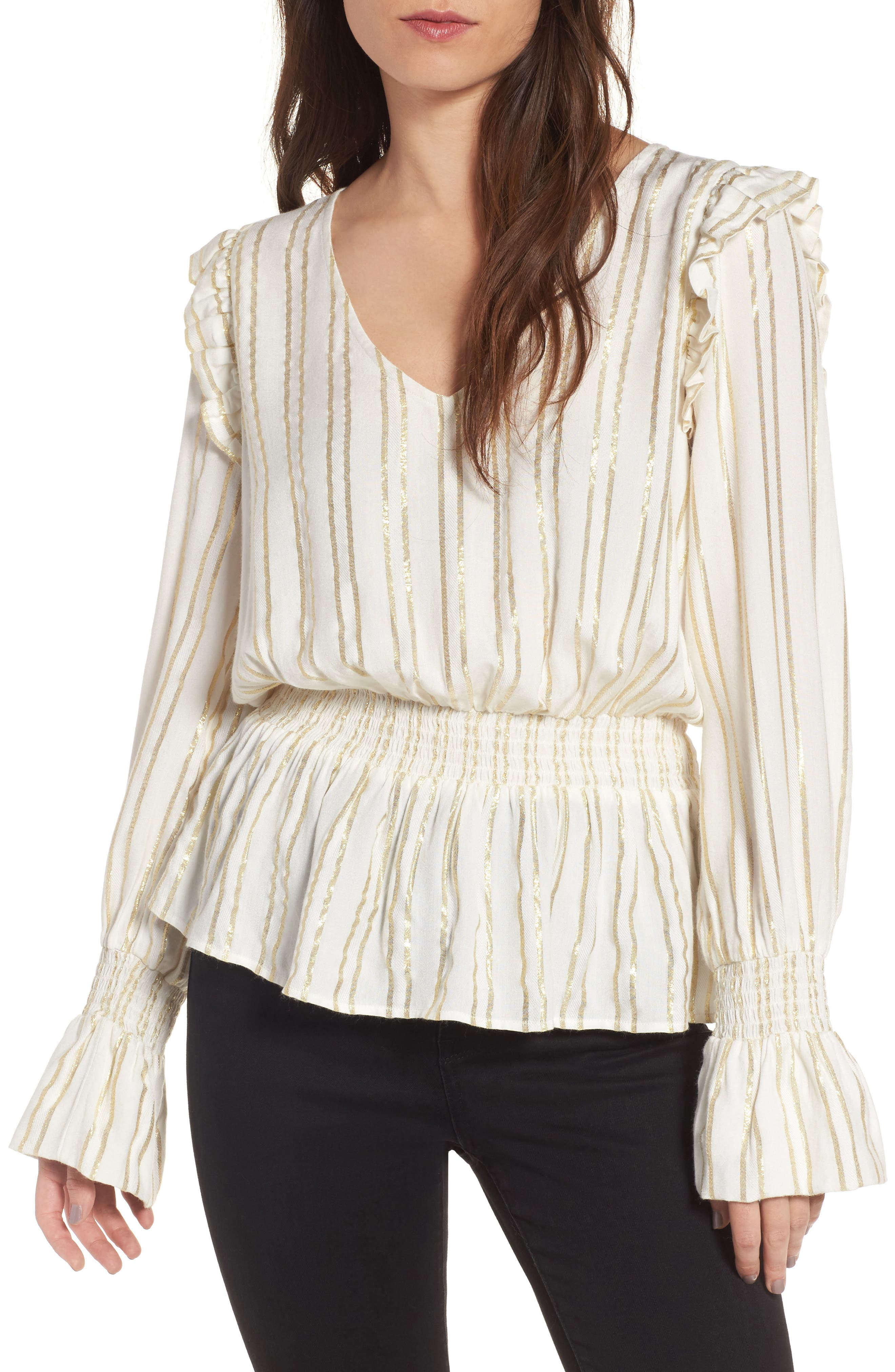 Metallic Smocked Blouse,                         Main,                         color, Ivory Combo