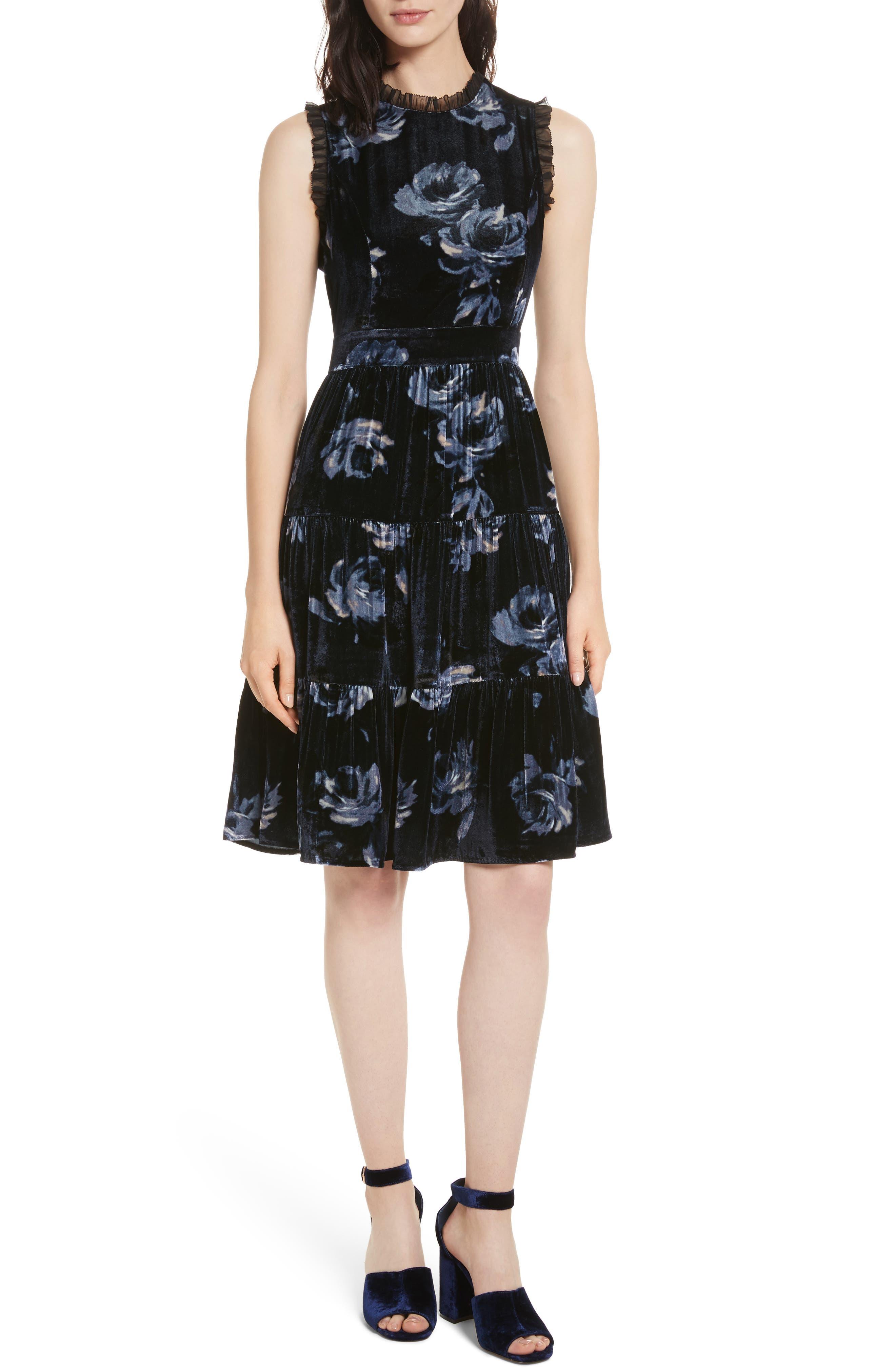 night rose velvet dress,                             Main thumbnail 1, color,                             Rich Navy