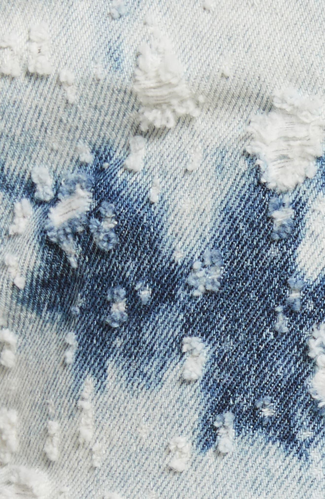 Denim x Alexander Wang Shadow Ripped Denim Shorts,                             Alternate thumbnail 5, color,                             Bleached Destroy
