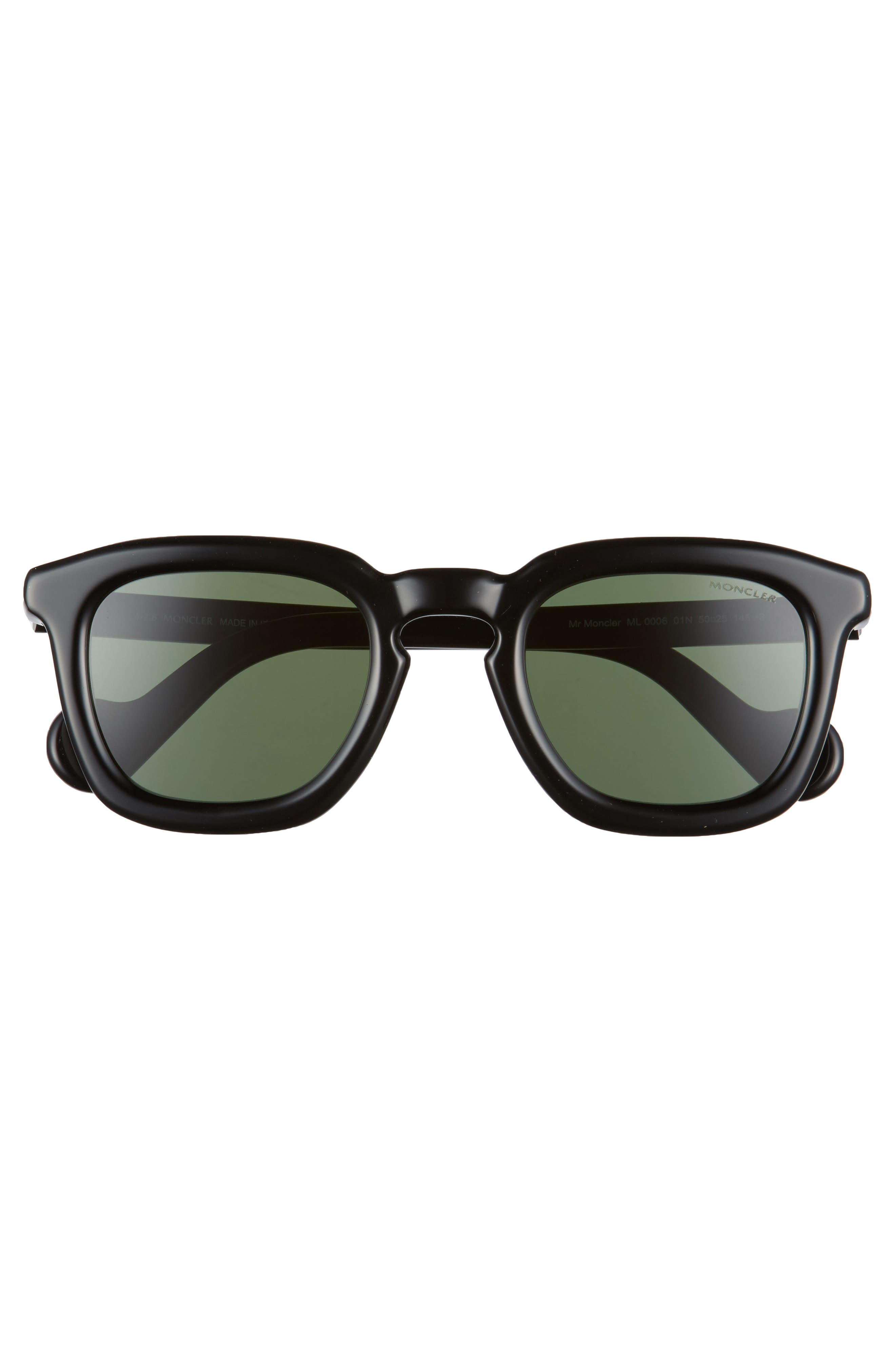 50mm Square Sunglasses,                             Alternate thumbnail 2, color,                             Black/ Green