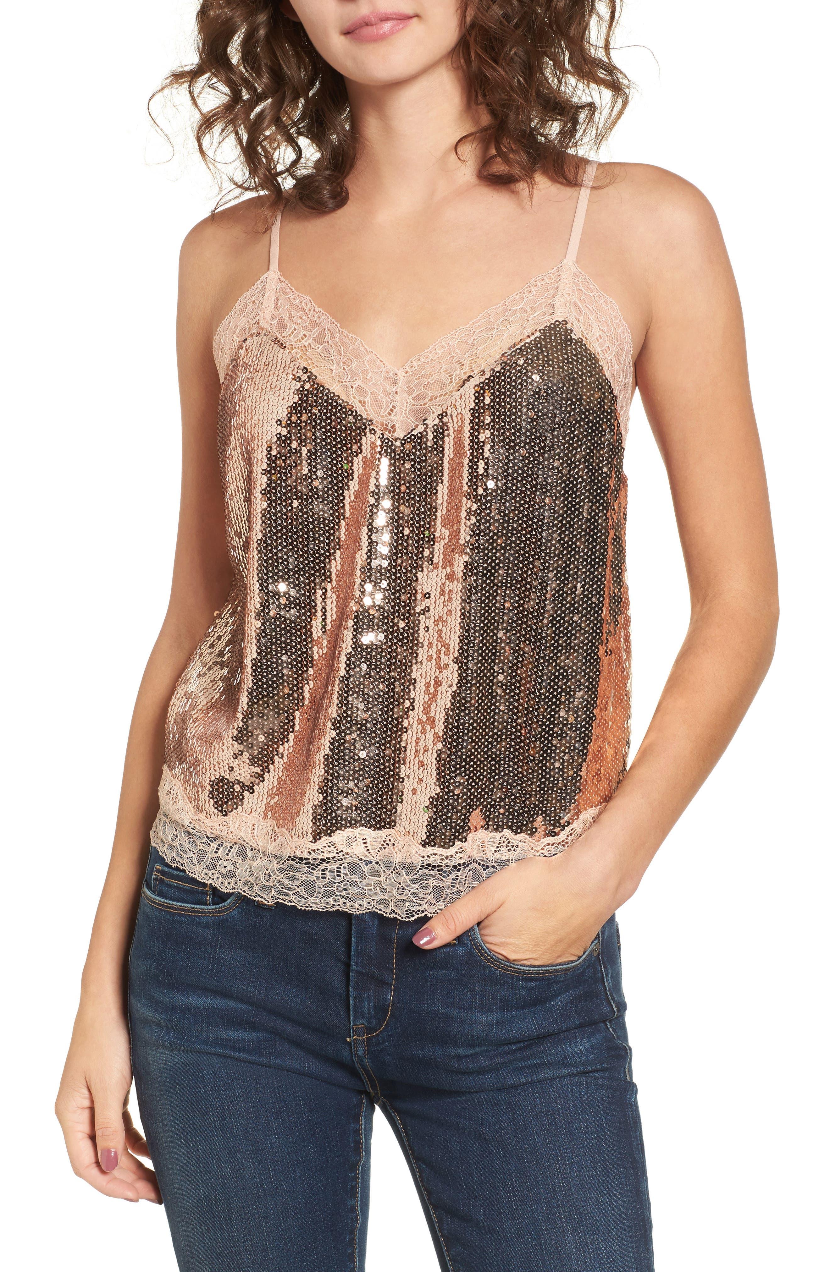 Main Image - Soprano Lace Trim Sequin Camisole Top
