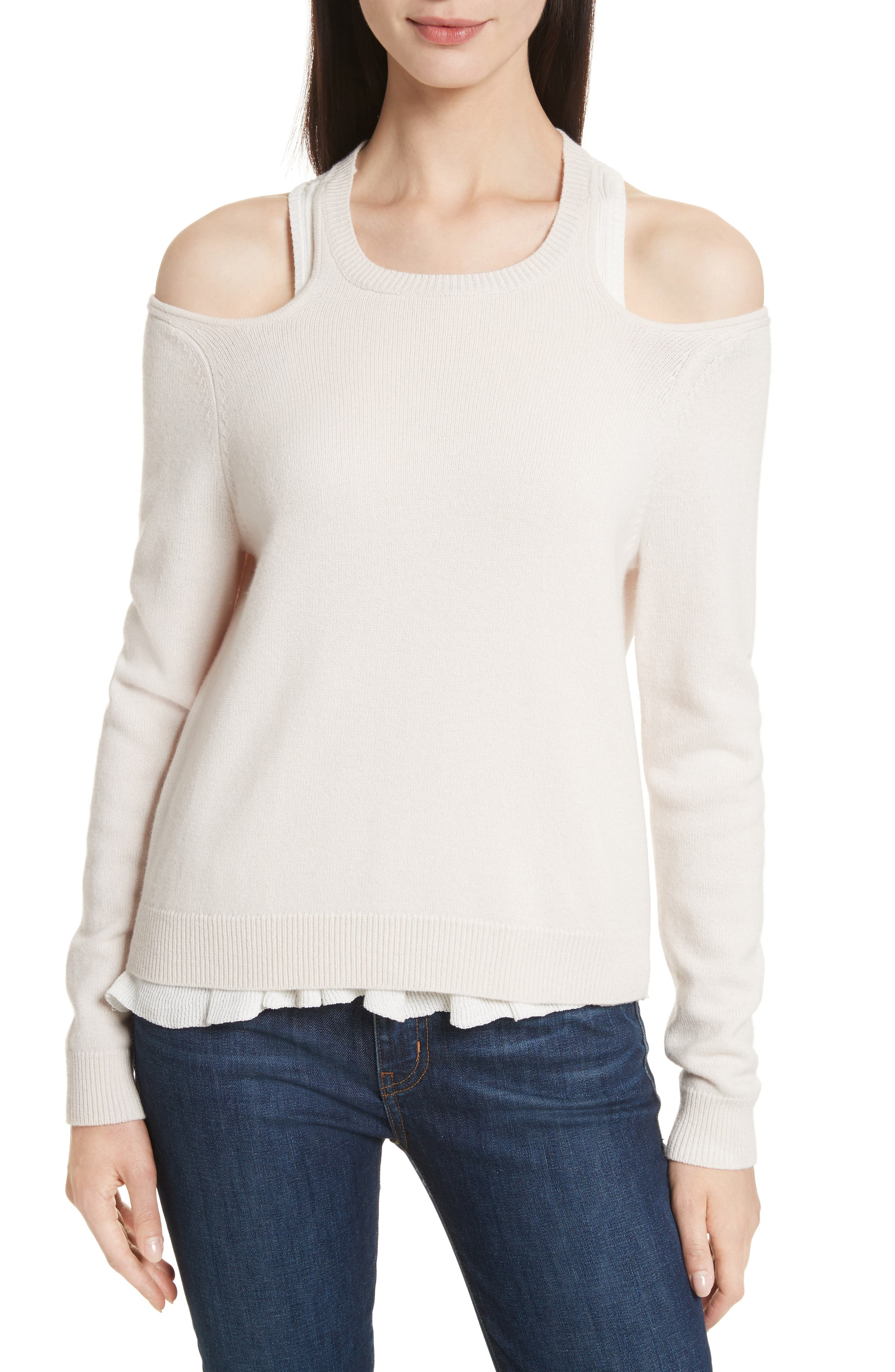 Layered Cold Shoulder Sweater,                         Main,                         color, Ballet
