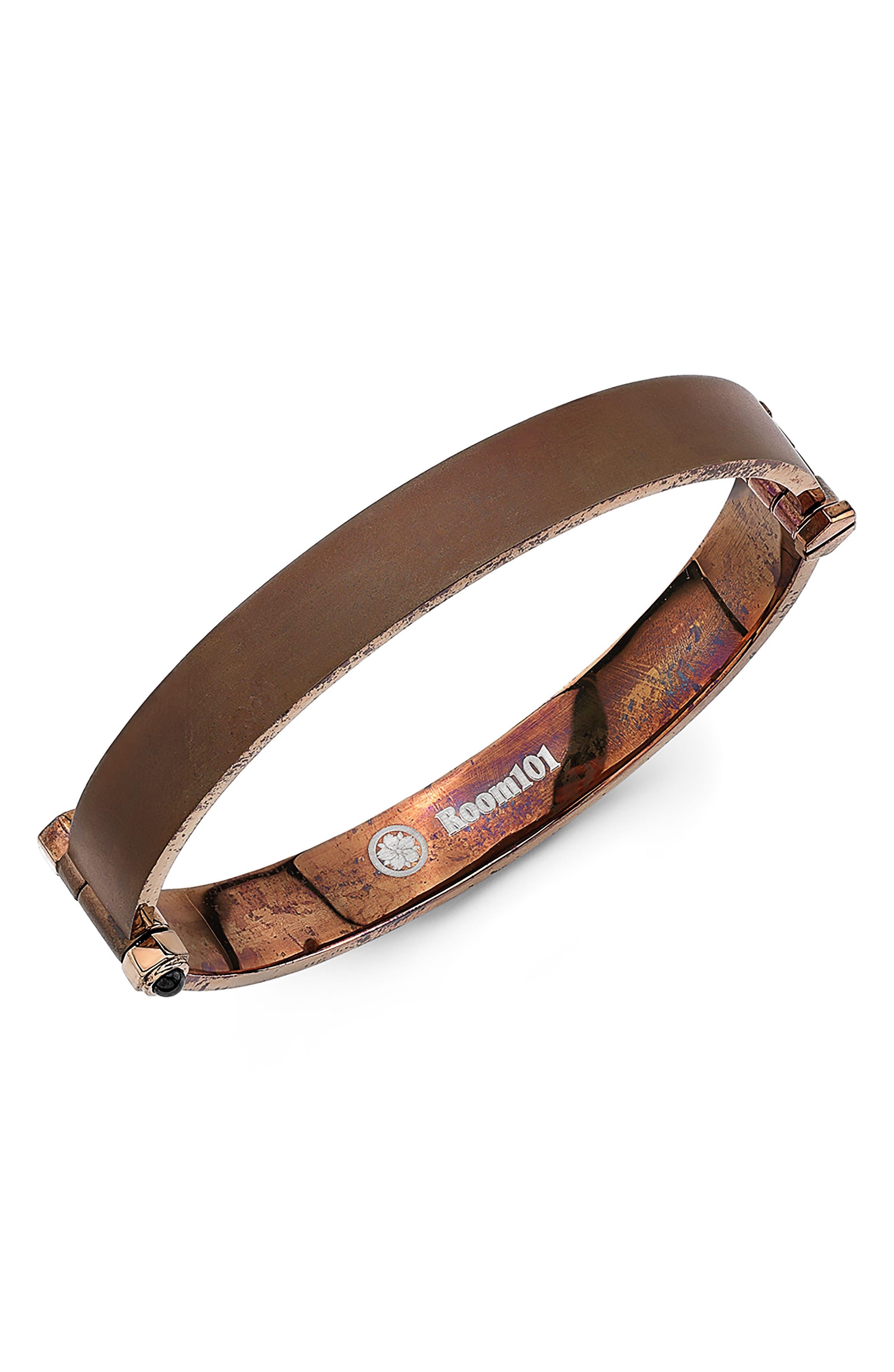 Flat Bangle Bracelet,                         Main,                         color, Rust