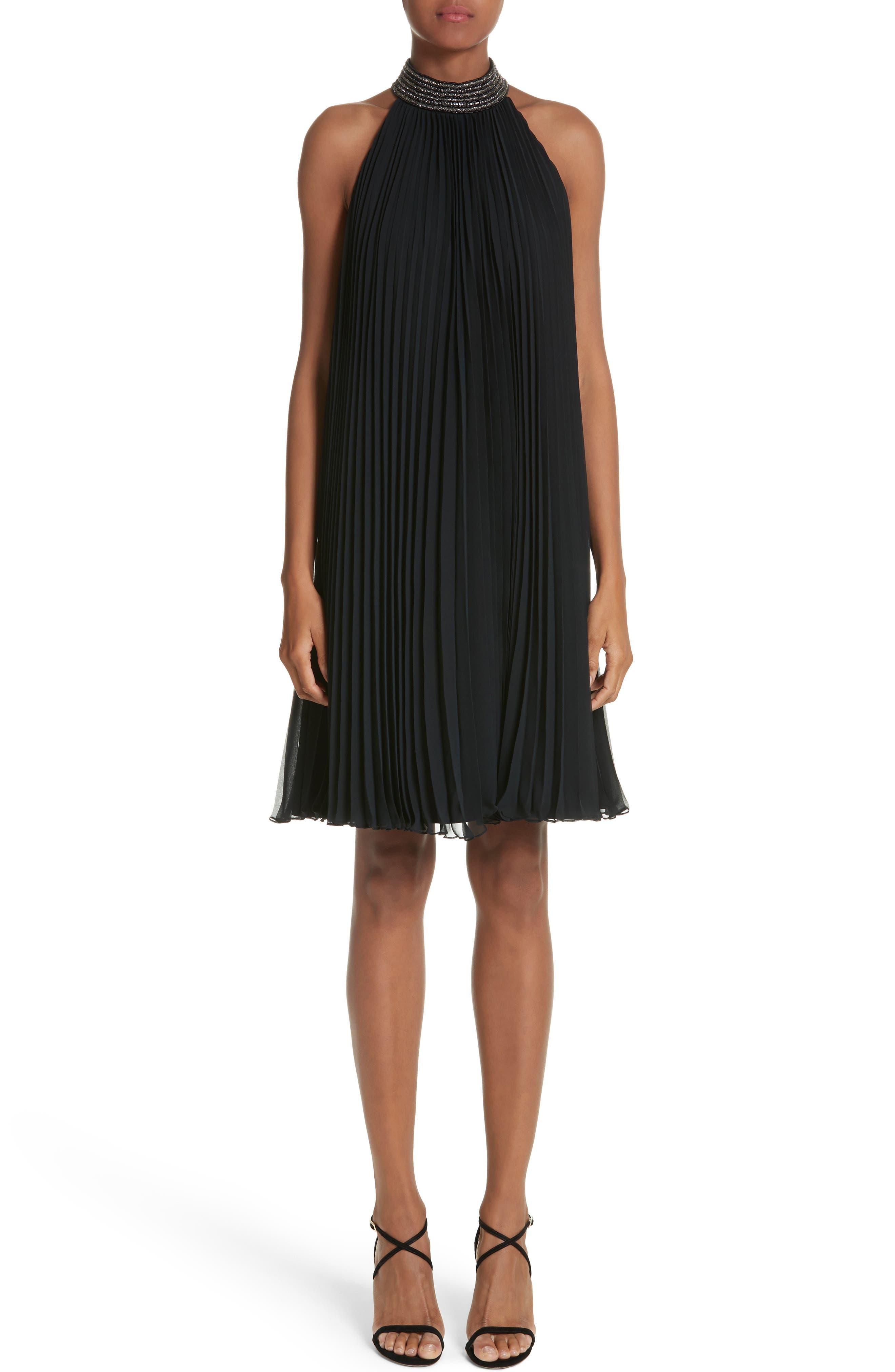 Carmen Marc Valvo Embellished Pleat Trapeze Dress,                             Main thumbnail 1, color,                             Black